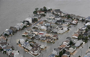 This photo made available by the New Jersey Governor's Office shows flooding on the bay side of Seaside, N.J. on Tuesday, Oct. 30, 2012 after superstorm Sandy made landfall in New Jersey Monday evening.