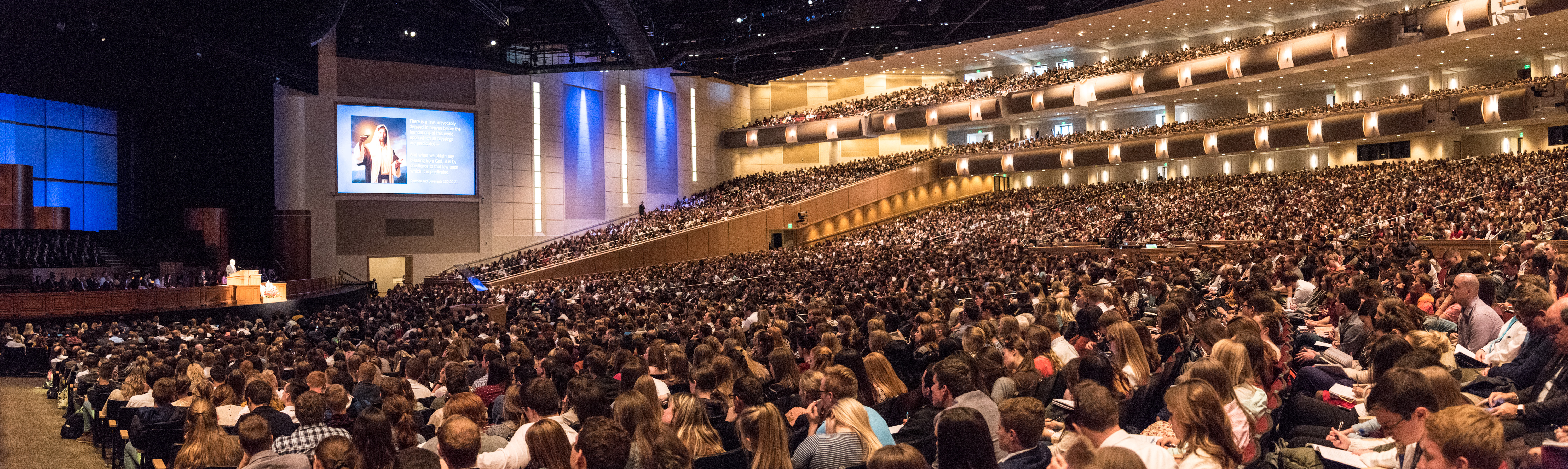 BYU-Idaho students gather to hear the words of President Dallin H. Oaks of the First Presidency during a BYU-Idaho campus devotional on Oct. 30.
