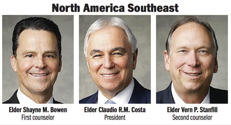 North America Southeast Area presidency: Elder Claudio R.M. Costa, Elder Shayne M. Bowen and Elder Vern P. Stanfill.