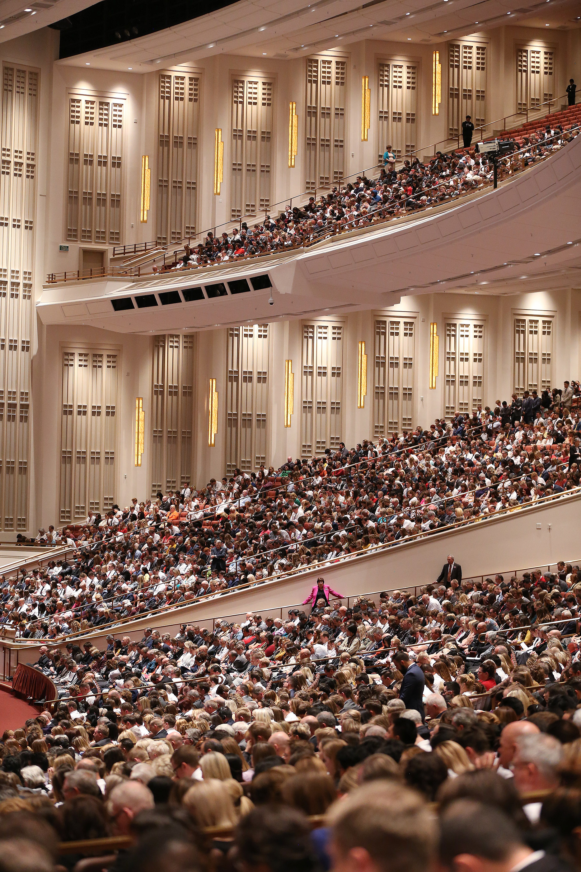 Attendees listen during the Sunday afternoon session of the 188th Semiannual General Conference of The Church of Jesus Christ of Latter-day Saints in the Conference Center in Salt Lake City on Sunday, Oct. 7, 2018.