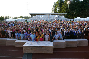 "Nearly 2,000 youth from six stakes in Washington and one stake in Oregon sing ""How Firm a Foundation"" during the finale of a regional youth dance festival held June 25 and 26 at McKenzie Stadium in Vancouver, Wash. Leaders challenged the youth to memorize the first, second, third and seventh verses of the hymn for the festival to coincide with its theme: ""A Firm Foundation."""