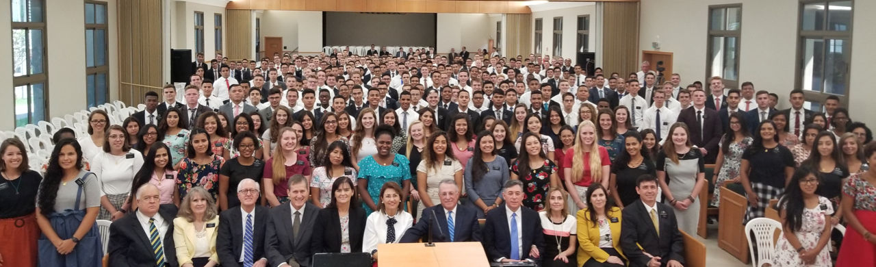 Elder Ulisses Soares of the Quorum of the Twelve and Sister Rosana Soares join other general authorities and wives in a photo of the combined Brazil Fortaleza and Brazil Fortaleza East missions Saturday, June 1, 2019.