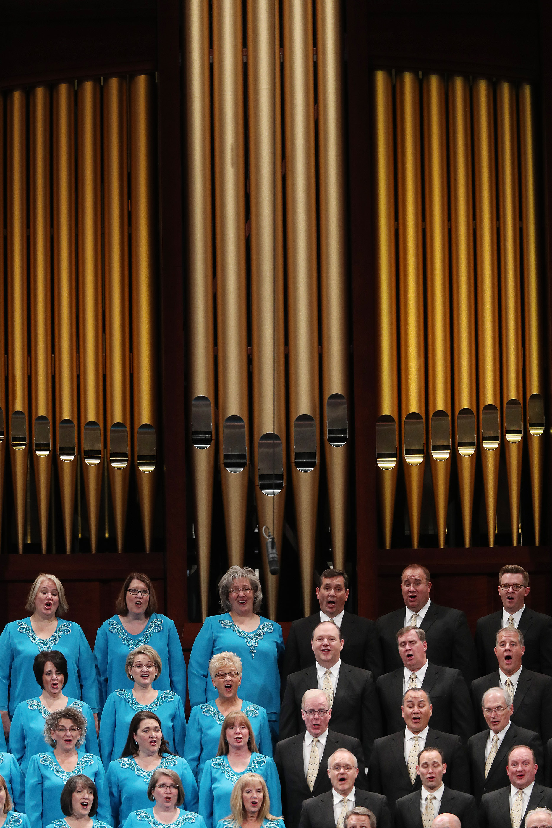 The Tabernacle Choir at Temple Square sings during the 188th Semiannual General Conference of The Church of Jesus Christ of Latter-day Saints in Salt Lake City on Sunday, Oct. 7, 2018.