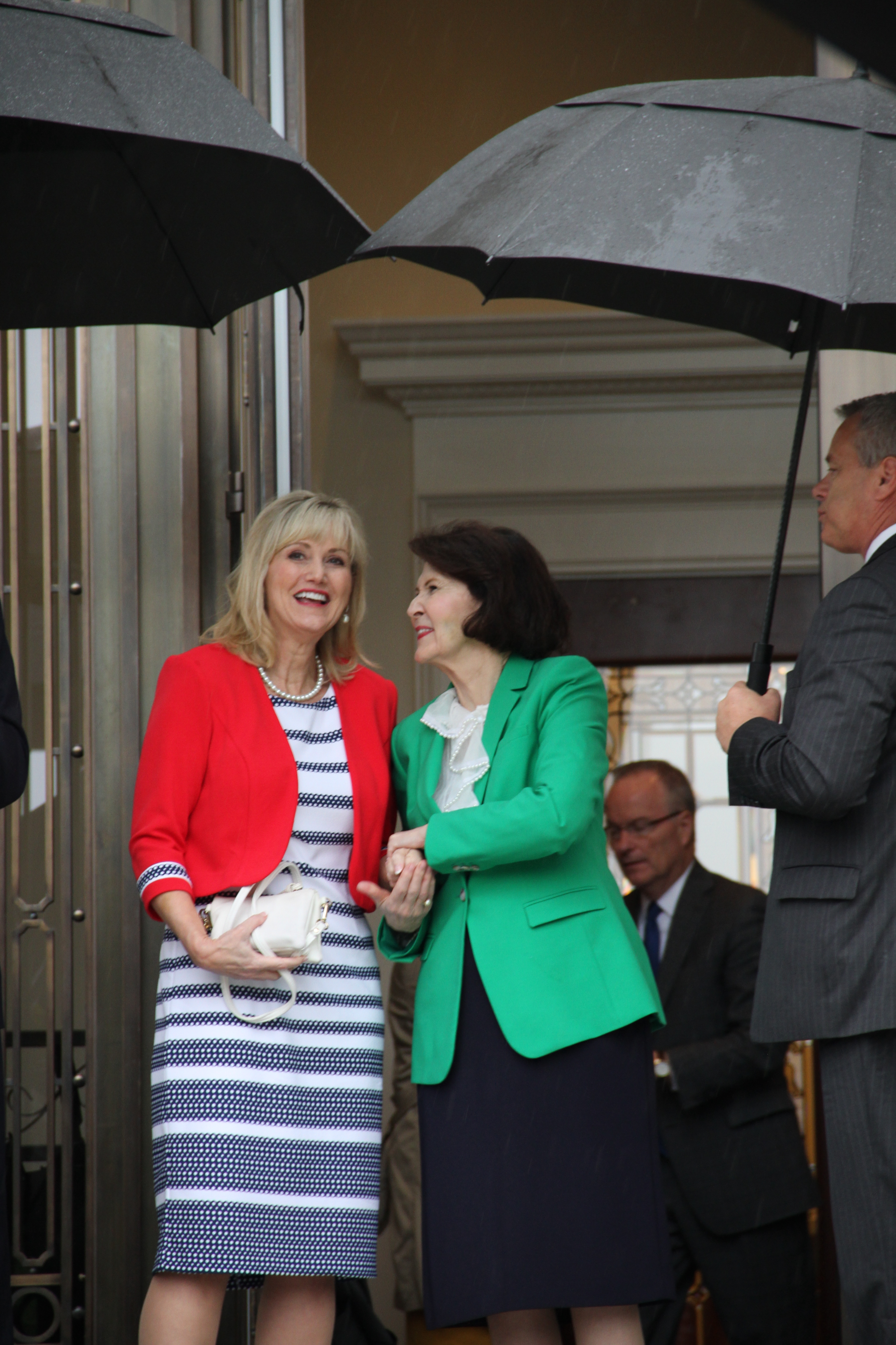 Sister Patricia Holland, right, and Sister Karen Beheshti chat outside the Memphis Tennessee Temple after touring through the recently renovated temple on May 4, 2019.