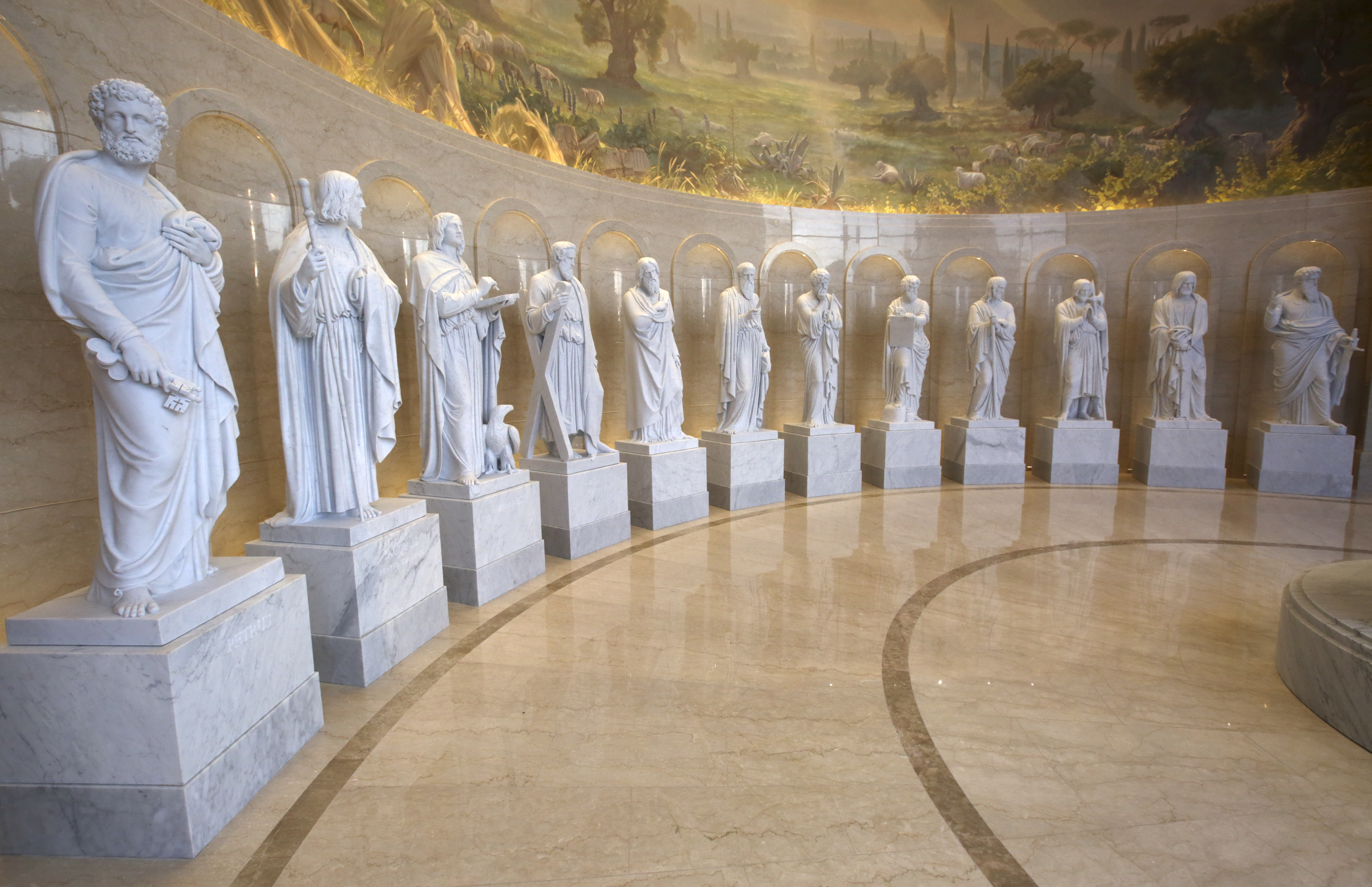 Replicas of Danish sculptor Bertel Thorvaldsen's 12 apostle statues are on display in the Rome Temple Visitors' Center in Rome, Italy, on Friday, Nov. 16, 2018.