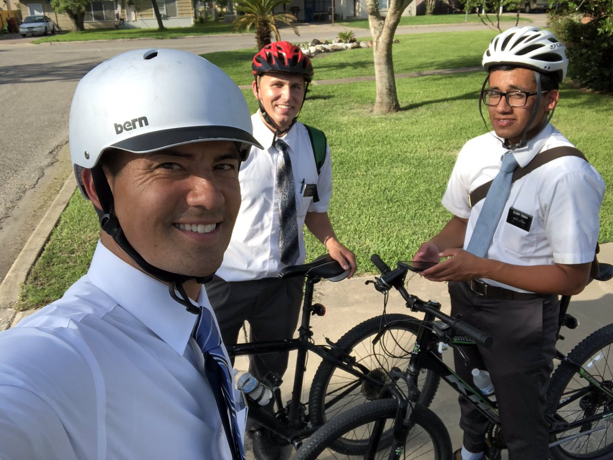 Texas Houston South Mission President Jeremy Guthrie joins other missionaries on bicycles to share the gospel with potential investigators.