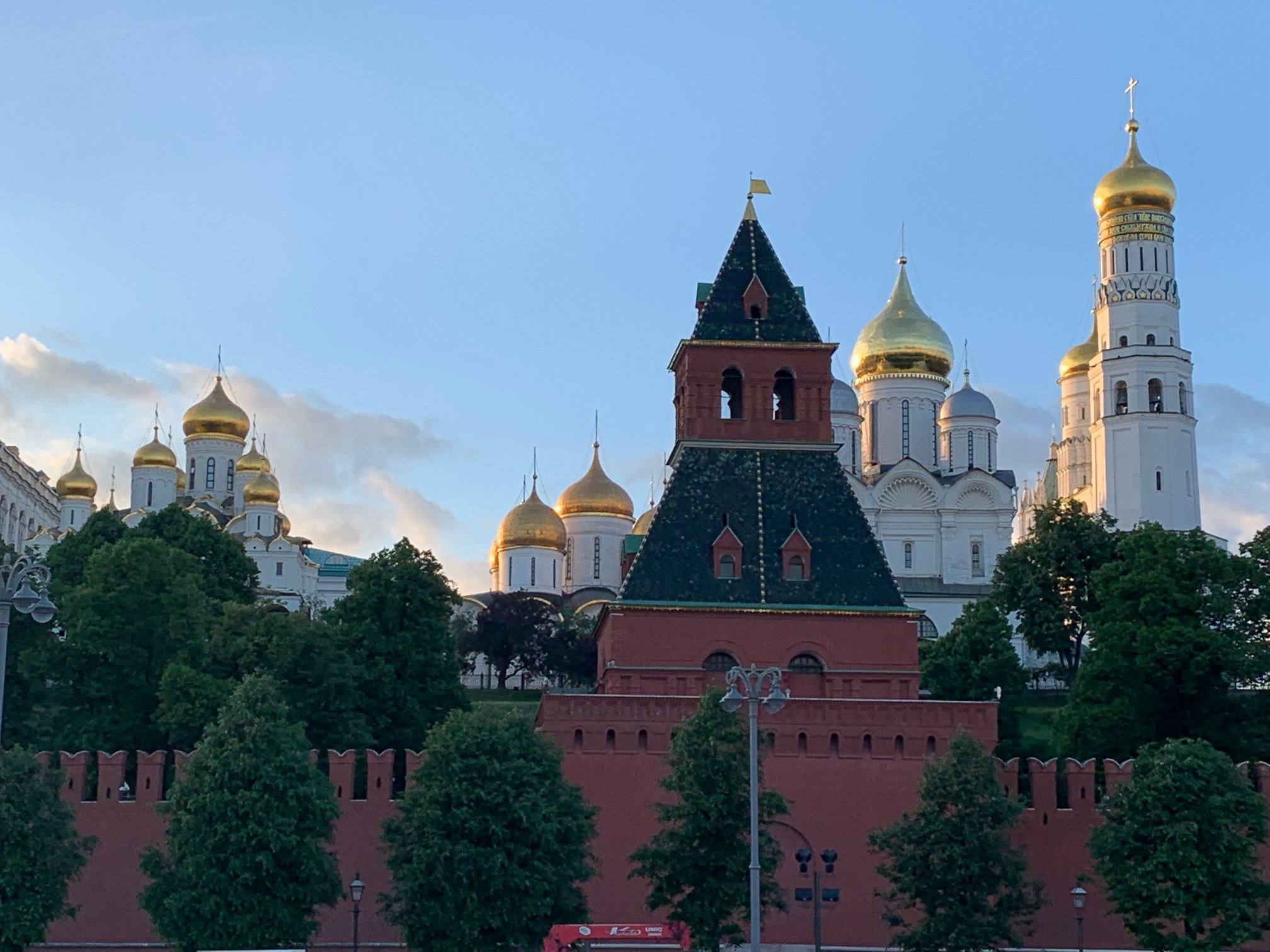 A scenic view of Moscow, Russia, includes one of the Kremlin's many towers and the domes of Russian Orthodox cathedrals. Elder Ronald A. Rasband visited the Europe East Area from May 22 to June 3, 2019.