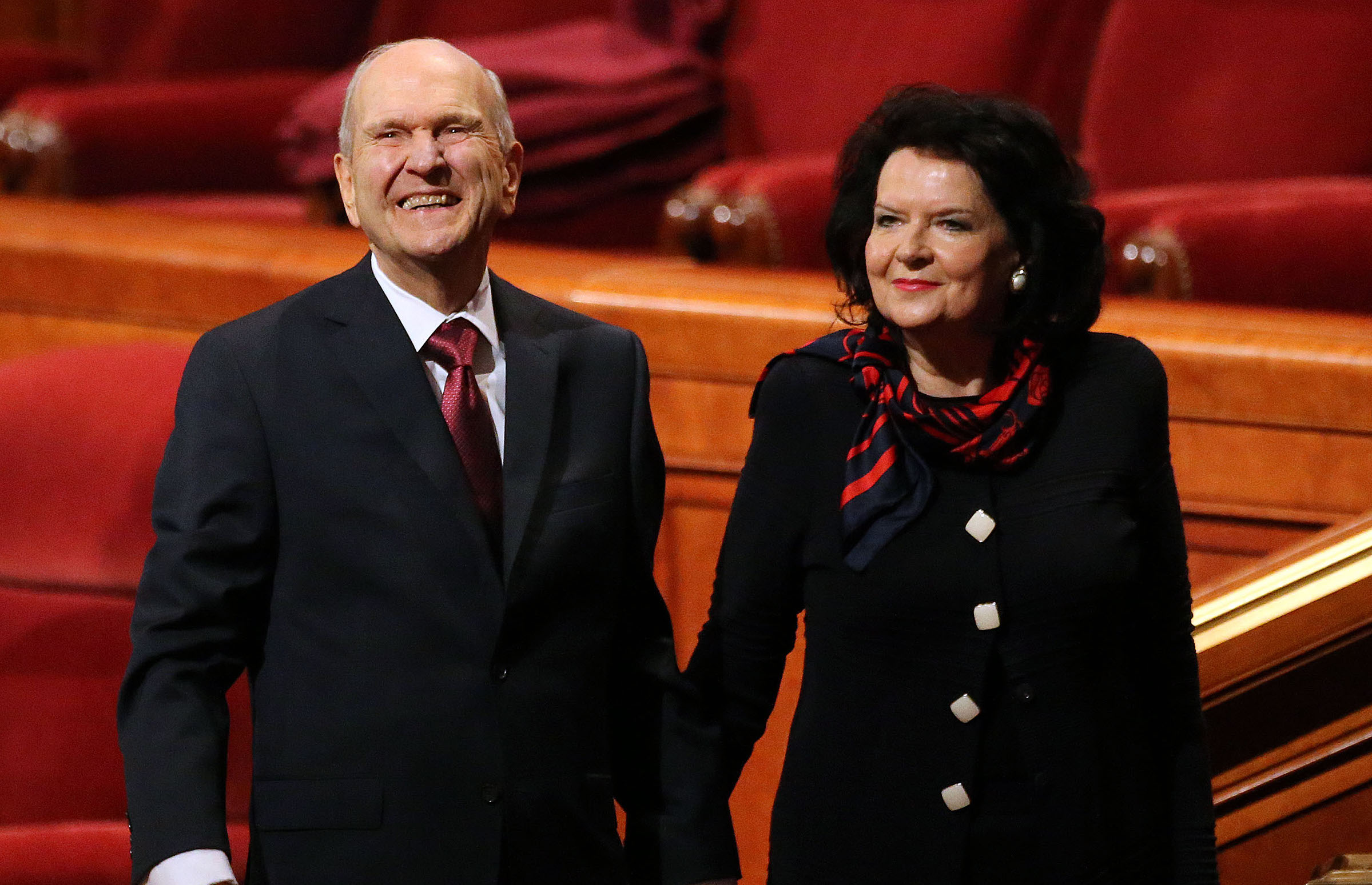President Russell M. Nelson and his wife, Sister Wendy Nelson, leave the morning session of the 188th Annual General Conference of The Church of Jesus Christ of Latter-day Saints at the Conference Center in Salt Lake City on Sunday, April 1, 2018.