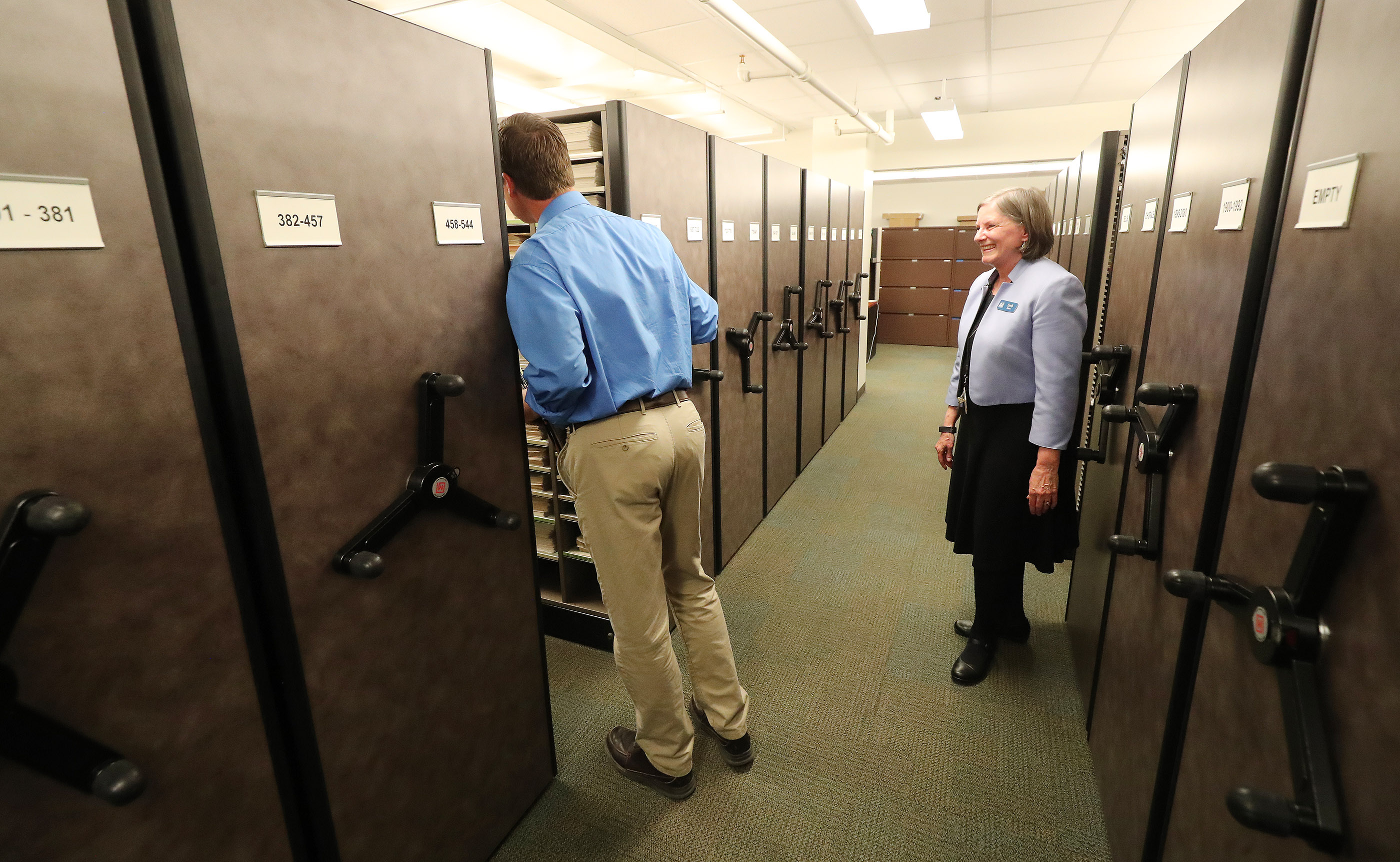 Daniel Wilson gets a tour of the vast music library by Deb Martin in preparation to sing with The Tabernacle Choir at Temple Square during a rehearsal in Salt Lake City on Thursday, April 11, 2019. Four people were selected through social media to sing with the choir.