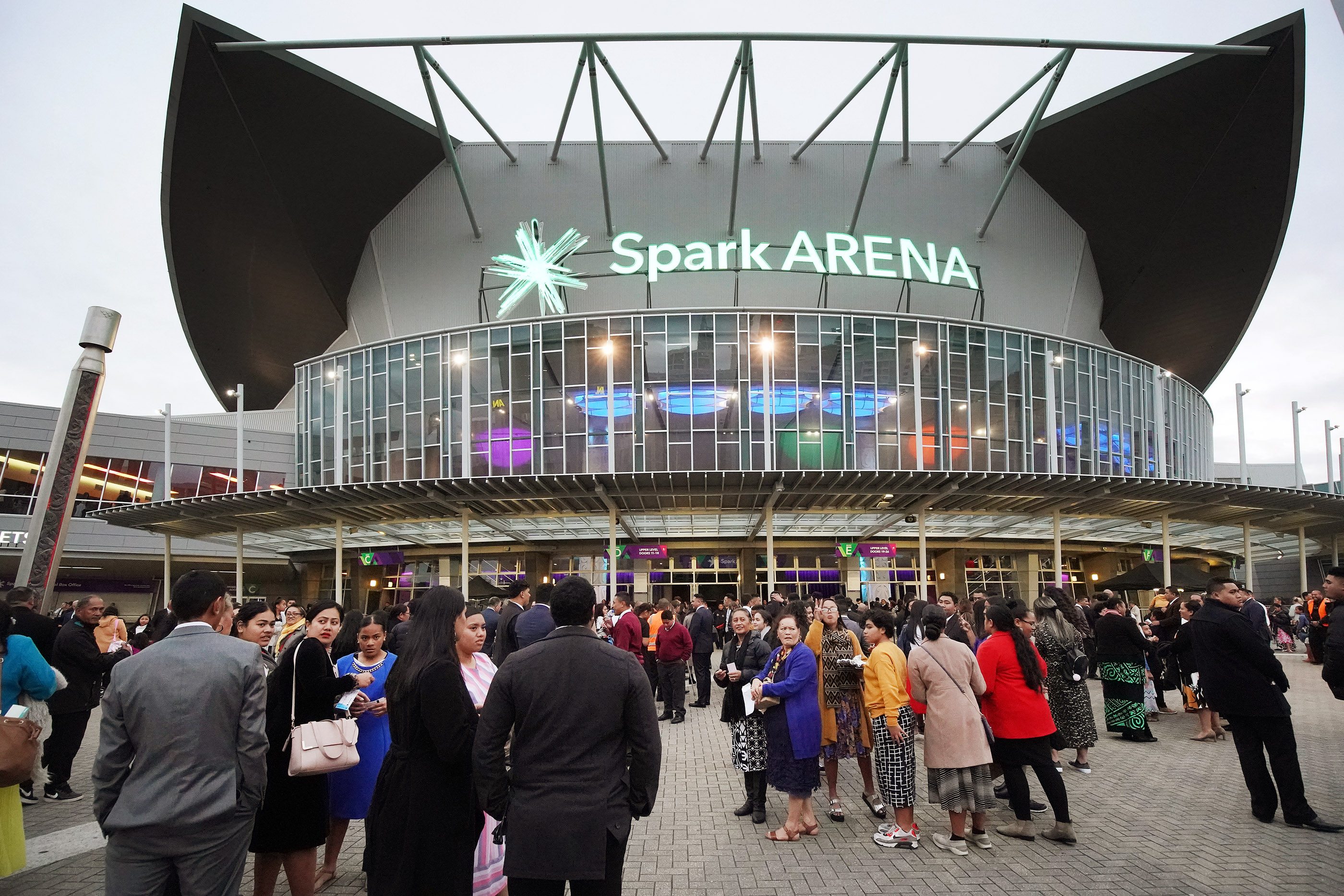 Attendees enter the Spark Arena prior to a devotional with President Russell M. Nelson of The Church of Jesus Christ of Latter-day Saints in Auckland, New Zealand, on May 21, 2019.