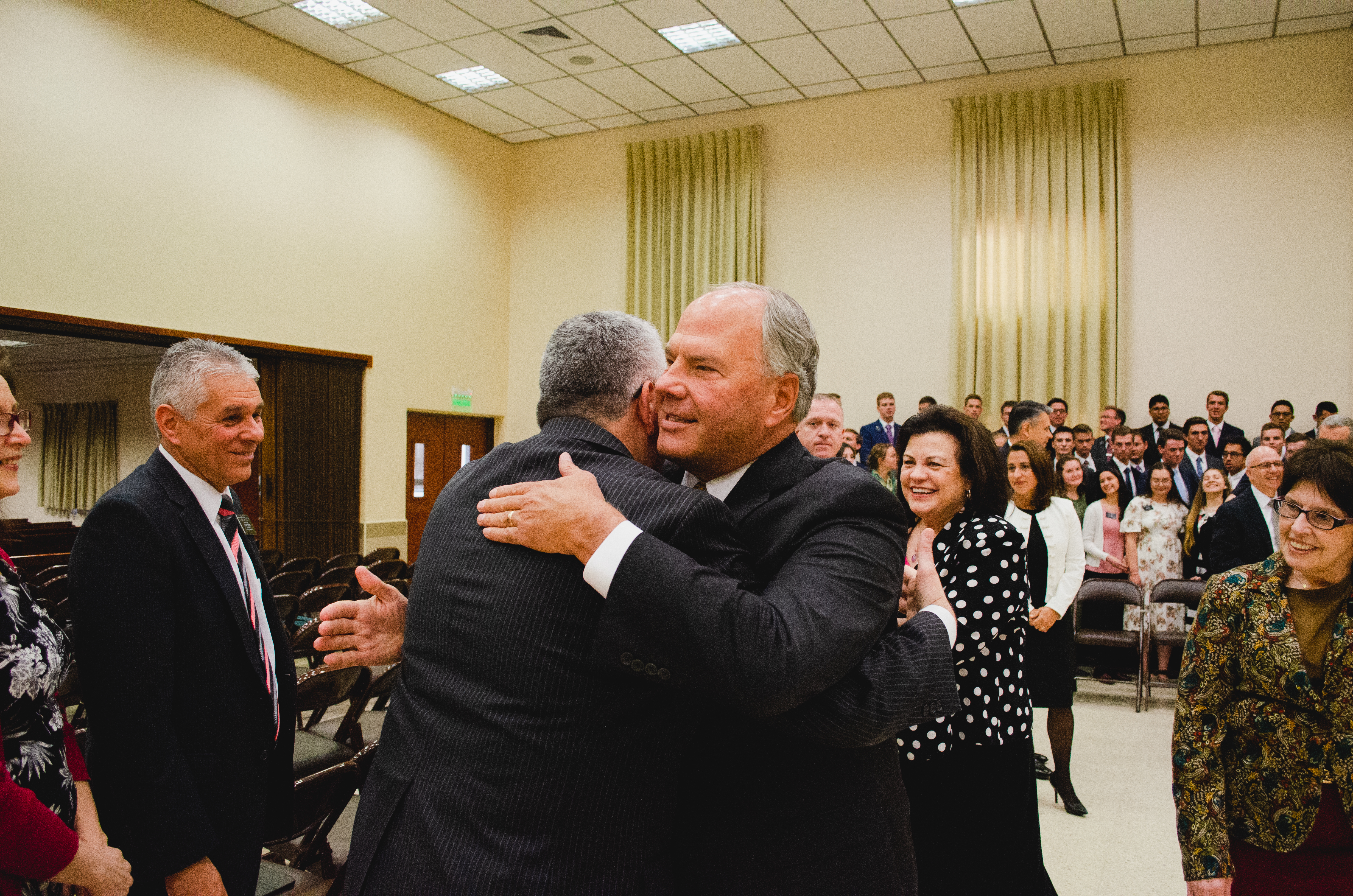 Elder Ronald A. Rasband of the Quorum of the Twelve Apostles greets missionaries and leaders during his late August and early September 2018 trip to the South America South Area.