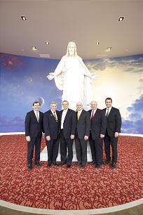 Church officials at the reopening of the Mexico City Temple Visitors Center included, from left, Mark J. Lusvardi, Elder Duane H. Zobrist, Elder Daniel L. Johnson, Elder Arnulfo Valenzuela, Stephen B. Allen and Jason J. Mitchell.