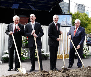 Ground was broken Saturday morning, Sept. 17, for the Philadelphia Pennsylvania Temple which will rise on Vine Street in the heart of downtown Philadelphia. Turning the first shovelfuls of earth are Elder William R. Walker, executive director of the Church's Temple Department; President Henry B. Eyring of the First Presidency; President Jay Jensen of the Seventy, and Elder Robert B. Smith, Area Seventy.