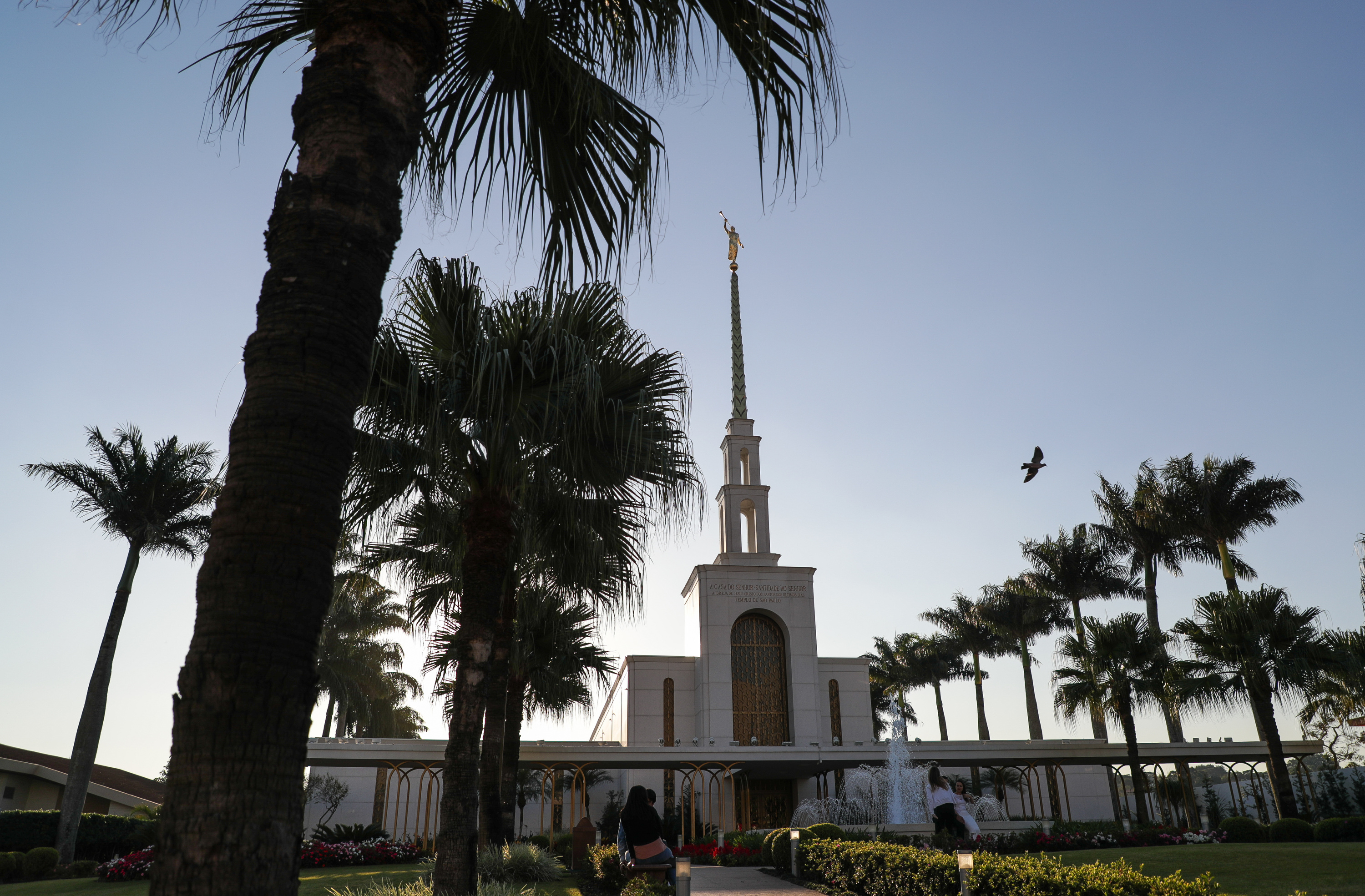 The LDS Church's São Paulo Temple is seen at sunset in São Paulo, Brazil on Tuesday, May 22, 2018.