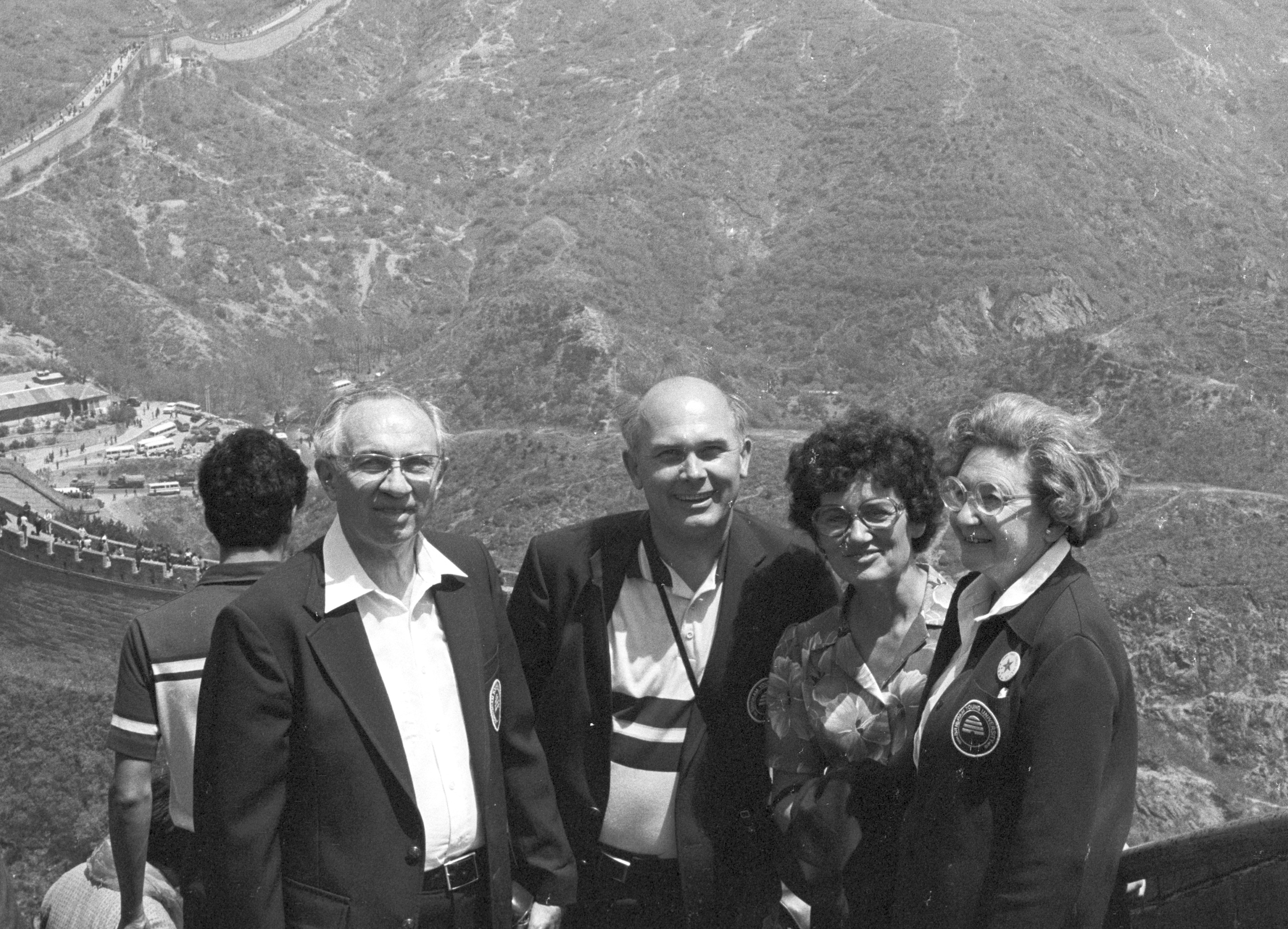 Gordon B. Hinckley, BYU President Dallin H. Oaks, Sister June Dixon Oaks, Sister Marjorie Peay Hinckley pose for a photo during the BYU Young Ambassador tour to China in April 1980.