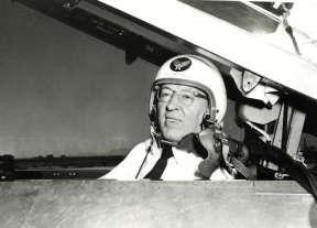 Joseph Fielding Smith in a National Guard jet in 1954.