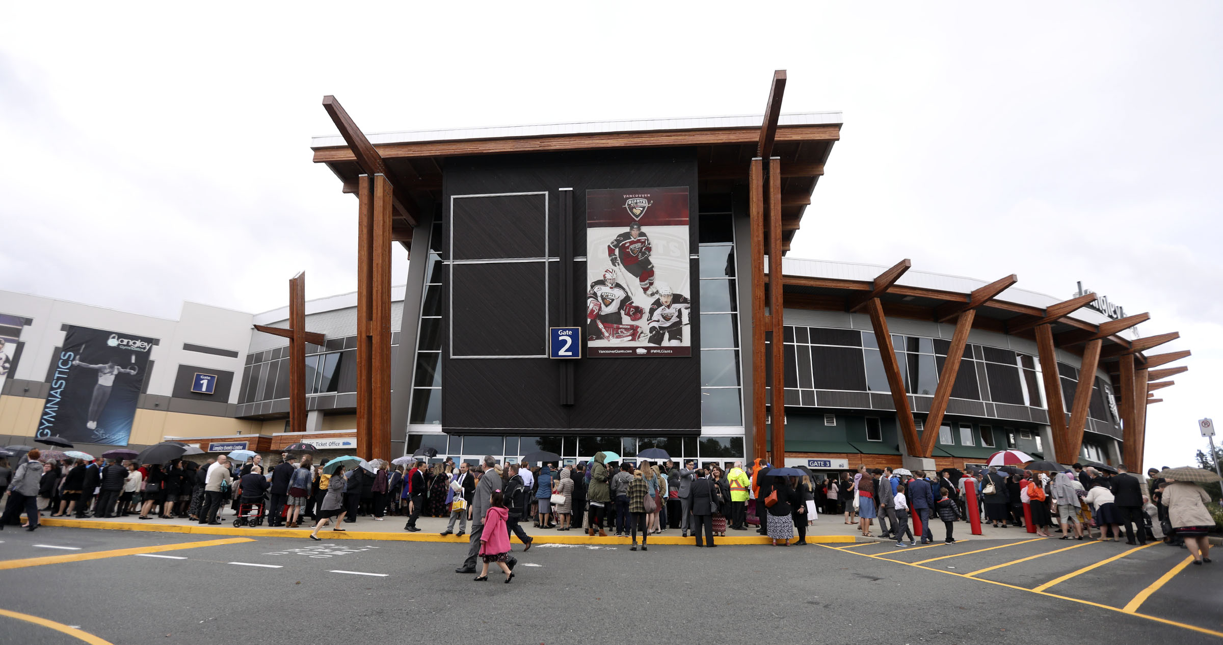 Crowds line up outside of the Langley Events Center to hear President Russell M. Nelson of The Church of Jesus Christ of Latter-day Saints speak in Langley, British Columbia, on Sunday, Sept. 16, 2018.