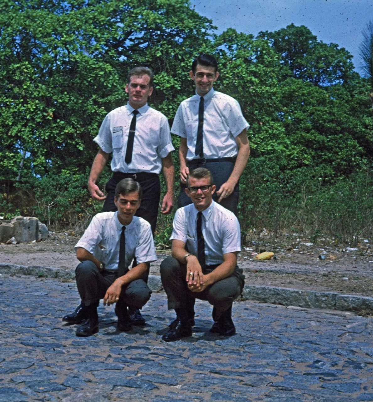 The four missionaries serving in Fortaleza, Brazil, in 1966 – clockwise from top left, Elder Cordell Finlinson, Elder Craig Evans, Elder John Beck, and Elder Robert Dionne.