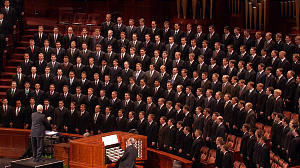 A priesthood choir from the Orem and Salt Lake institutes of religion provide music during the Saturday evening priesthood session of general conference. The choir performed selections from the .