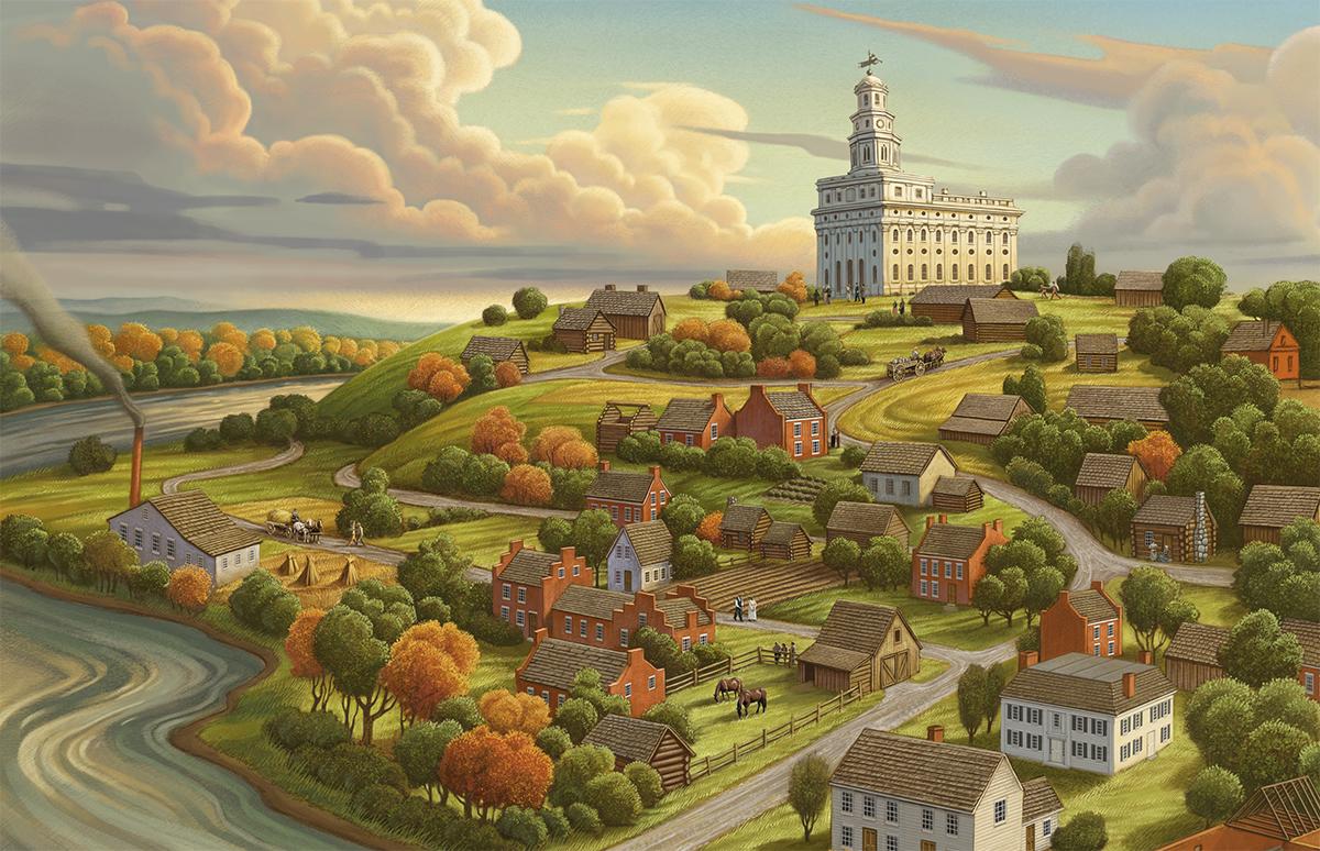 """Greg Newbold painting titled, """"Nauvoo the Beautiful"""""""