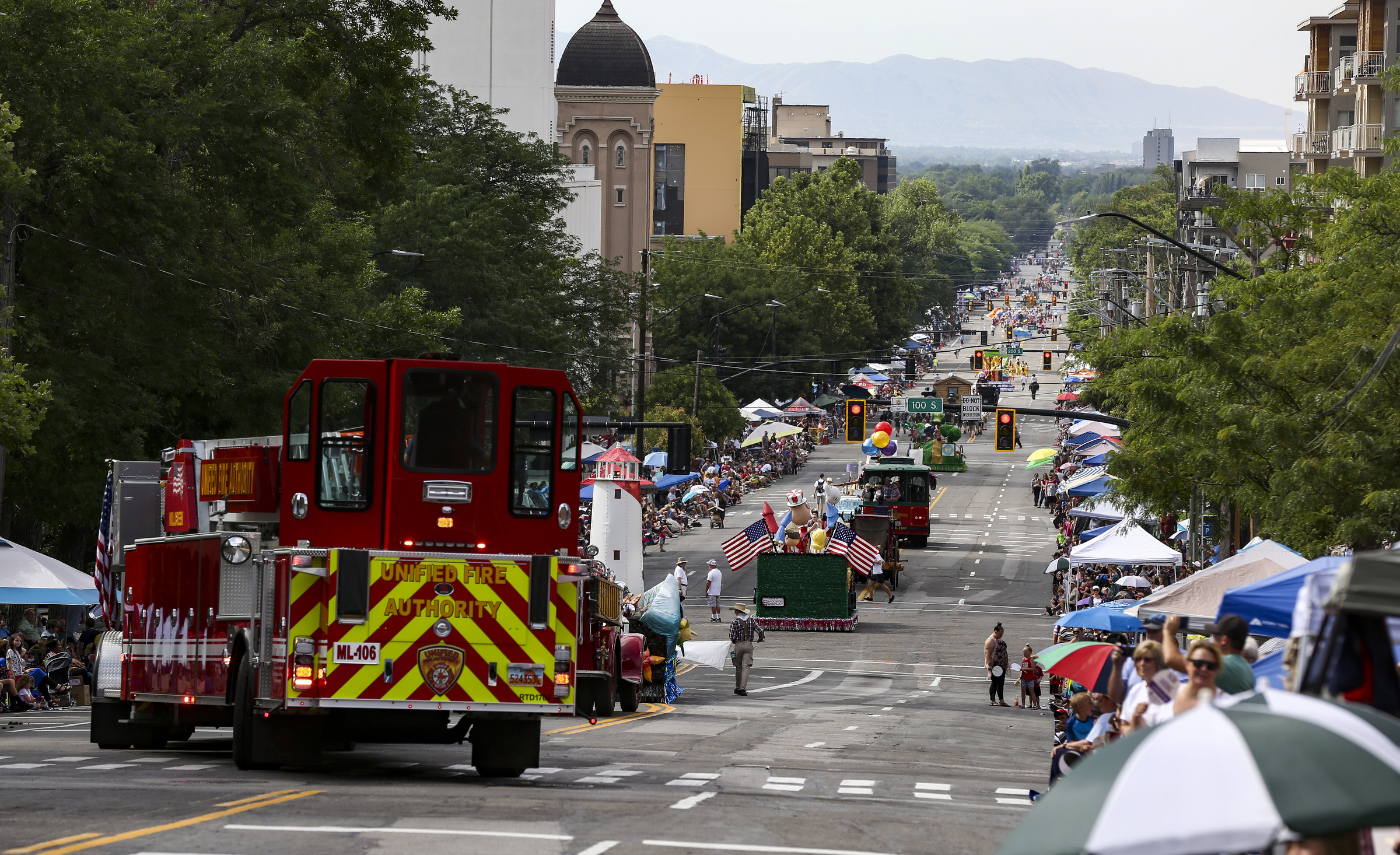 The Days of 47 Parade stretches down South 200 East Street in Downtown Salt Lake City on Wednesday, July 24, 2019.