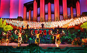 A large choir and the many dancers participate in the final dress rehearsal for the LDS progarm, Luz de las Naciones (Light of the Nations) at the LDS conference center in Salt Lake City Thursday, Oct. 25, 2012