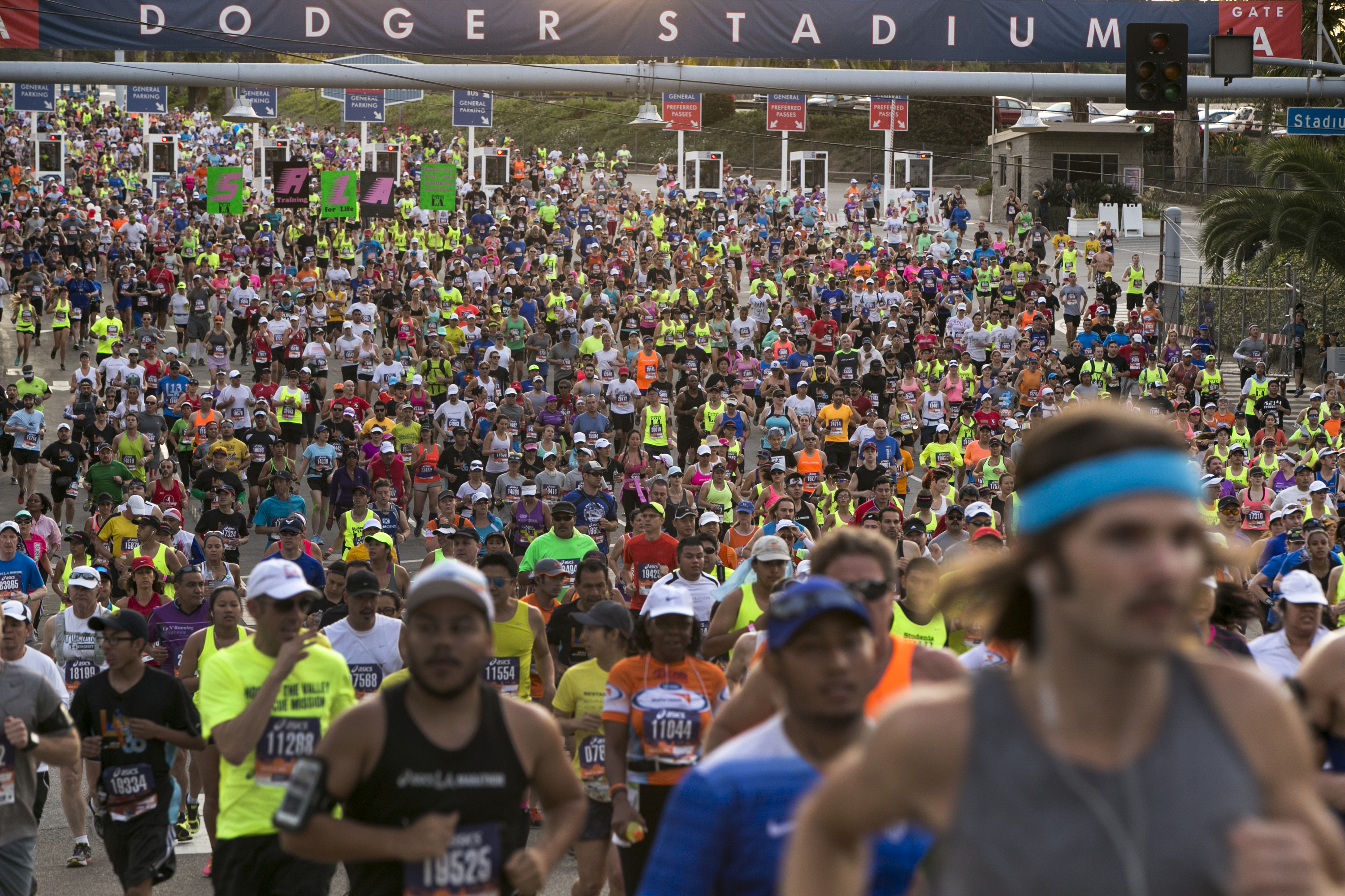 Runners in the 30th Los Angeles Marathon take off from Dodger Stadium in Los Angeles Sunday, March 15, 2015.