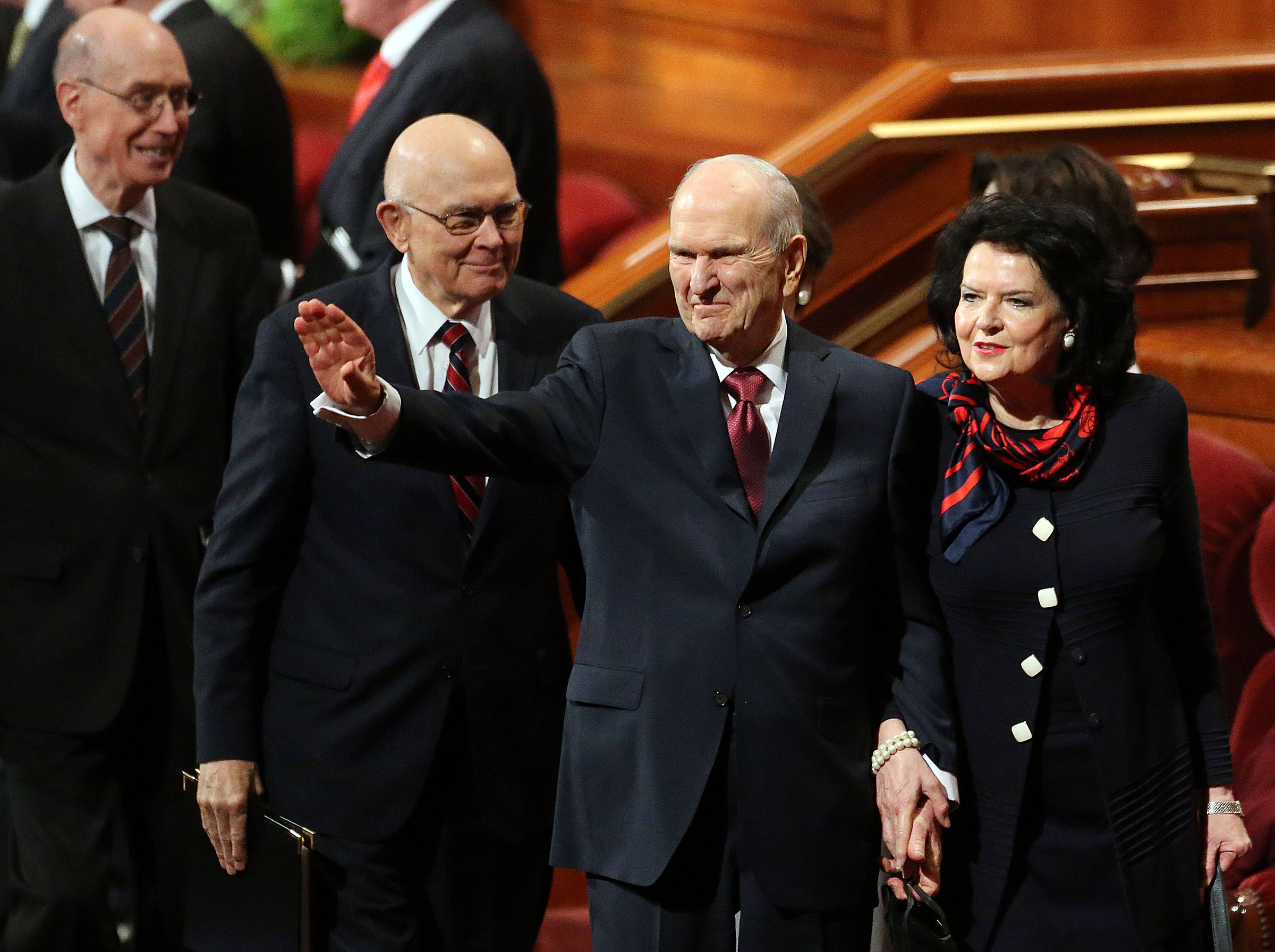 President Russell M. Nelson and his wife, Sister Wendy Nelson, leave the Sunday morning session of the 188th Annual General Conference at the Conference Center in Salt Lake City on Sunday, April 1, 2018.