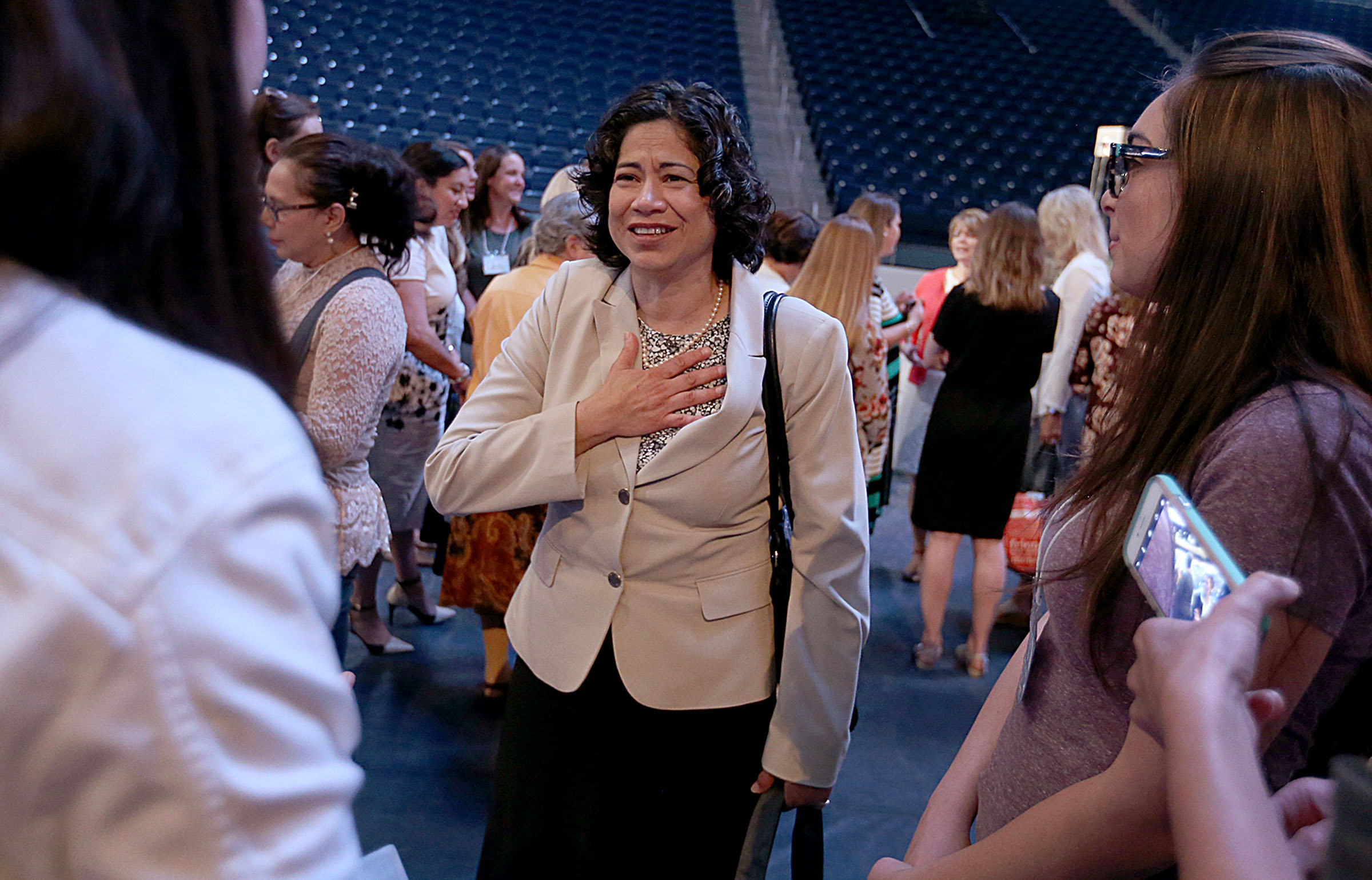 Reyna I. Aburto, Relief Society Presidency Second Counselor, speaks to attendees of the BYU Women's Conference in the Marriott Center at BYU in Provo on Friday, May 5, 2017.
