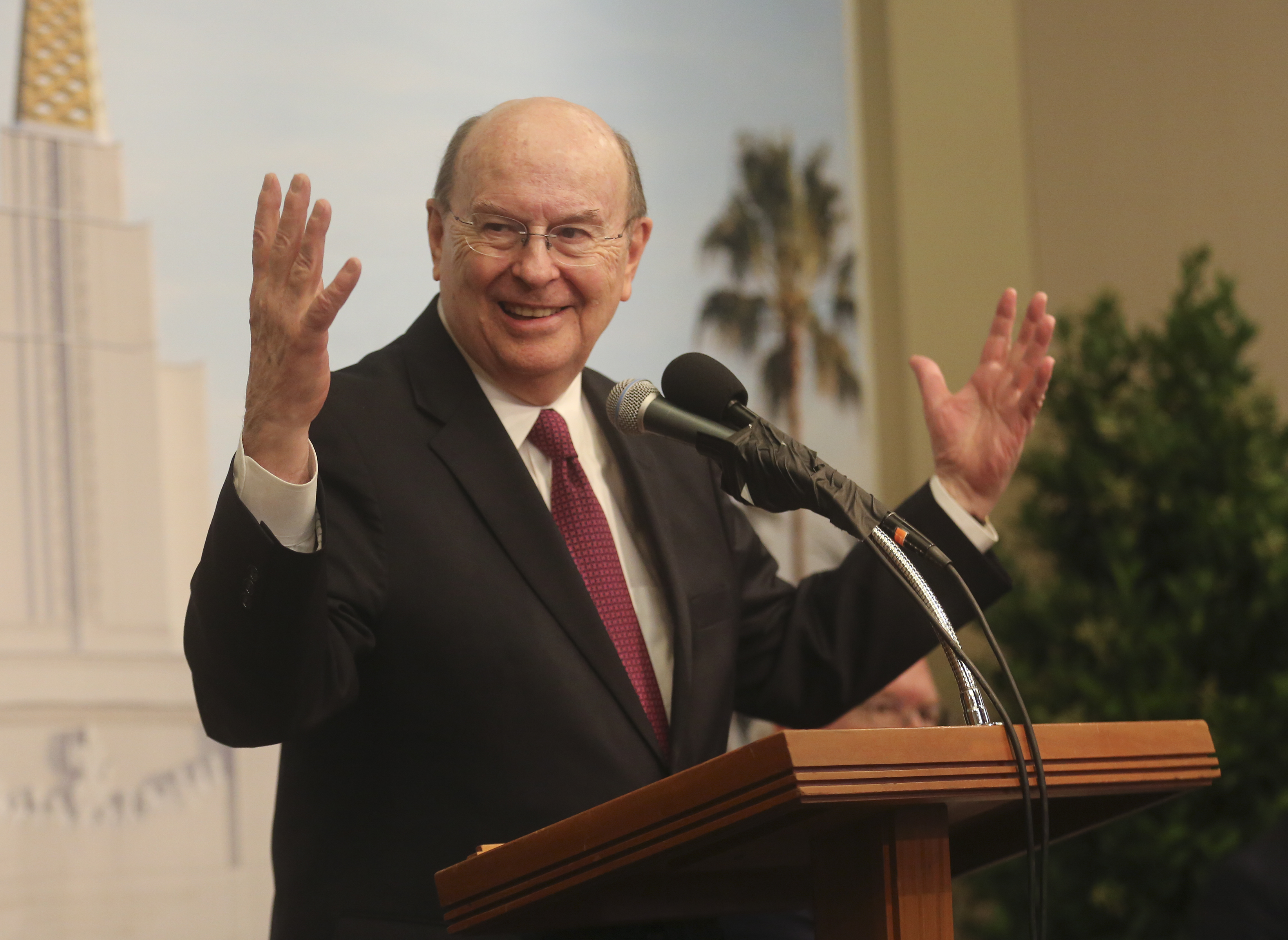 Elder Quentin L. Cook, of the Quorum of the Twelve Apostles, speaks about the newly renovated Oakland California Temple, of The Church of Jesus Christ of Latter-day Saints, during a news conference held in the visitors' center in Oakland, Calif., on Monday, May 6, 2019.