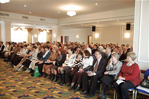 Members gather for Samara Russia district conference on Oct. 25, 2009, to hear Elder Russell M. Nelson.