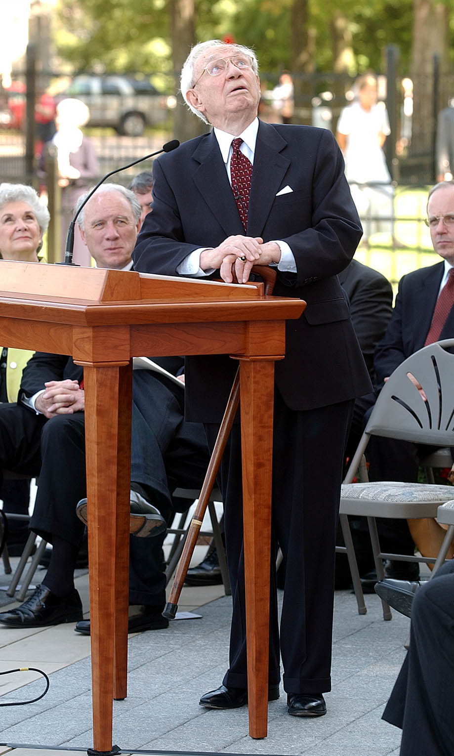 President Gordon B. Hinckley speaks about the Moroni statue at a press conference at the Nauvoo LDS Temple June 27th, 2002.