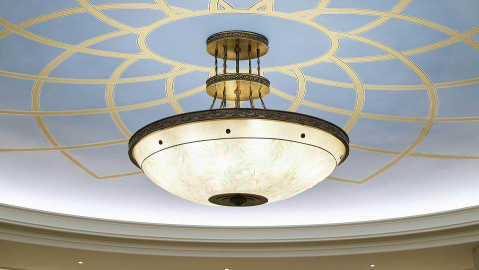 A light fixture in the Rome Italy Temple.
