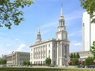 An architectural rendering of the Philadelphia Temple.
