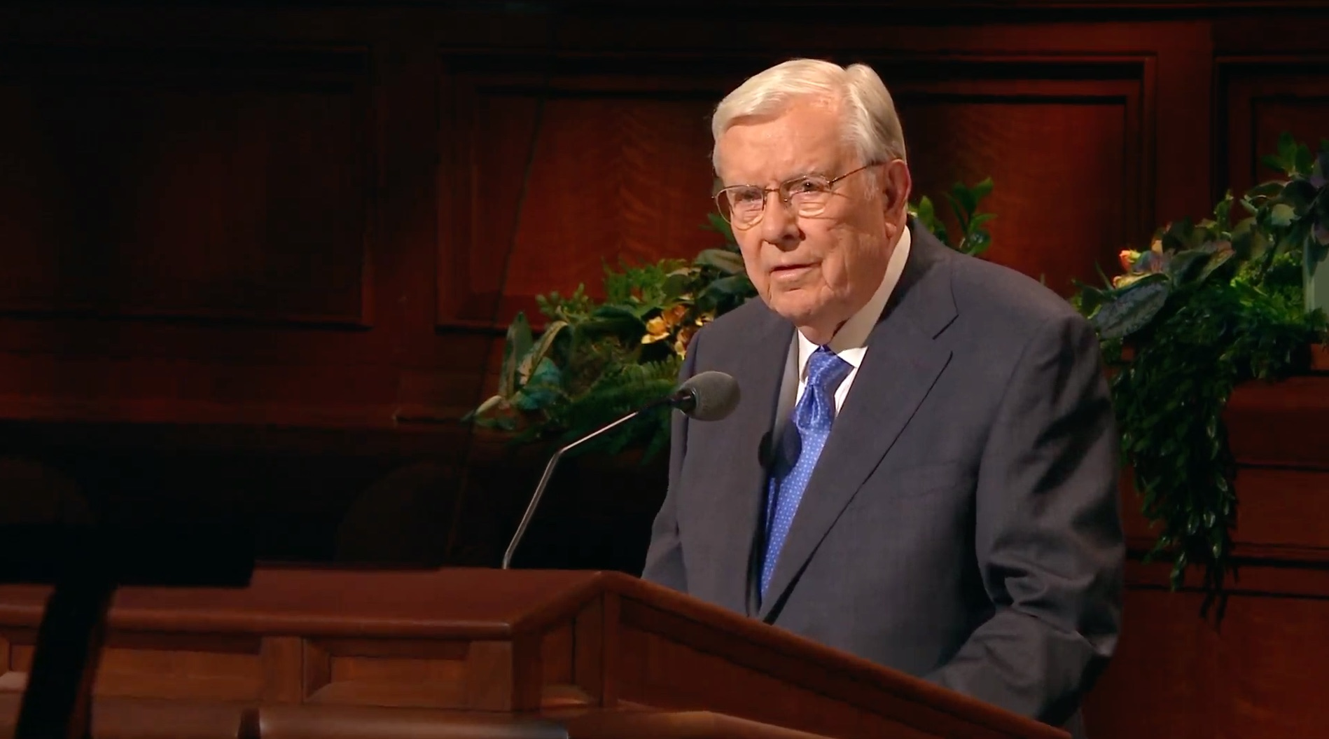 President M. Russell Ballard, Acting President of the Quorum of the Twelve Apostles, gives his address during the Saturday afternoon session of the 189th Annual General Conference on April 6, 2019.