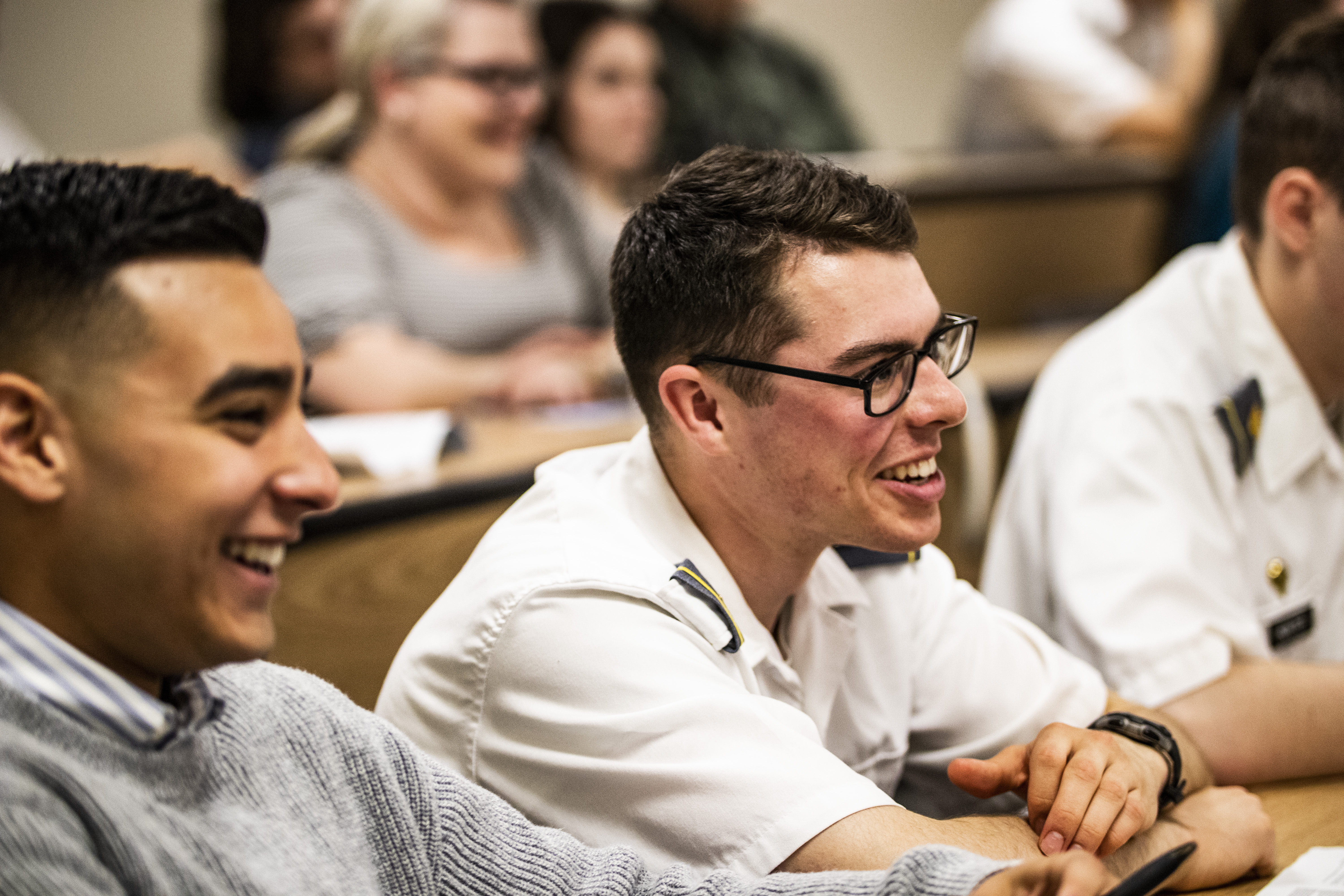 Civilian and military cadets enjoy fellowship at May 4, 2019, YSA conference at the United States Military Academy in West Point, New York.