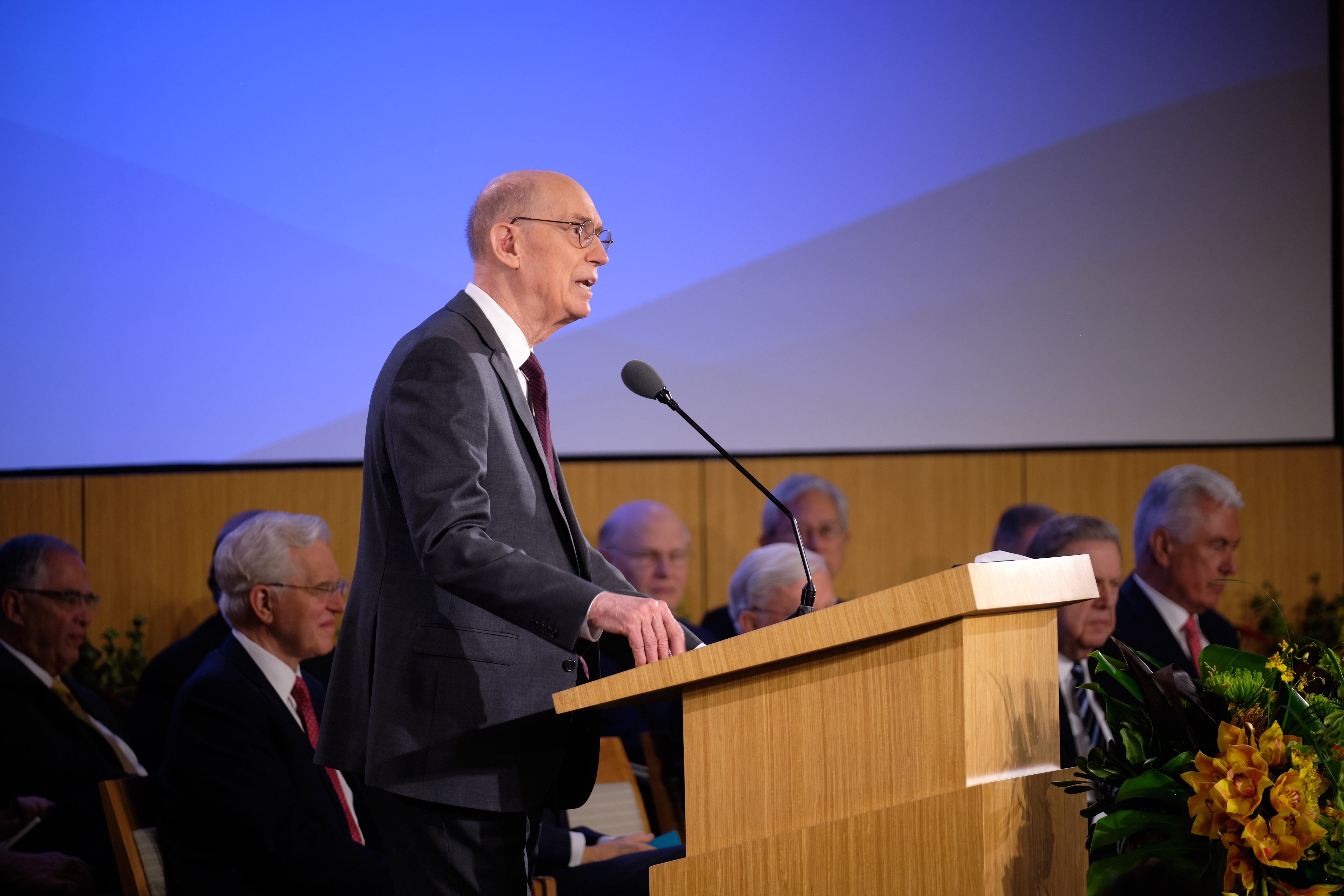 President Henry B. Eyring, second counselor in the First Presidency, speaks Tuesday, June 24, 2019, at the New Mission Leadership Seminar held at the Provo Missionary Training Center in Provo, Utah.