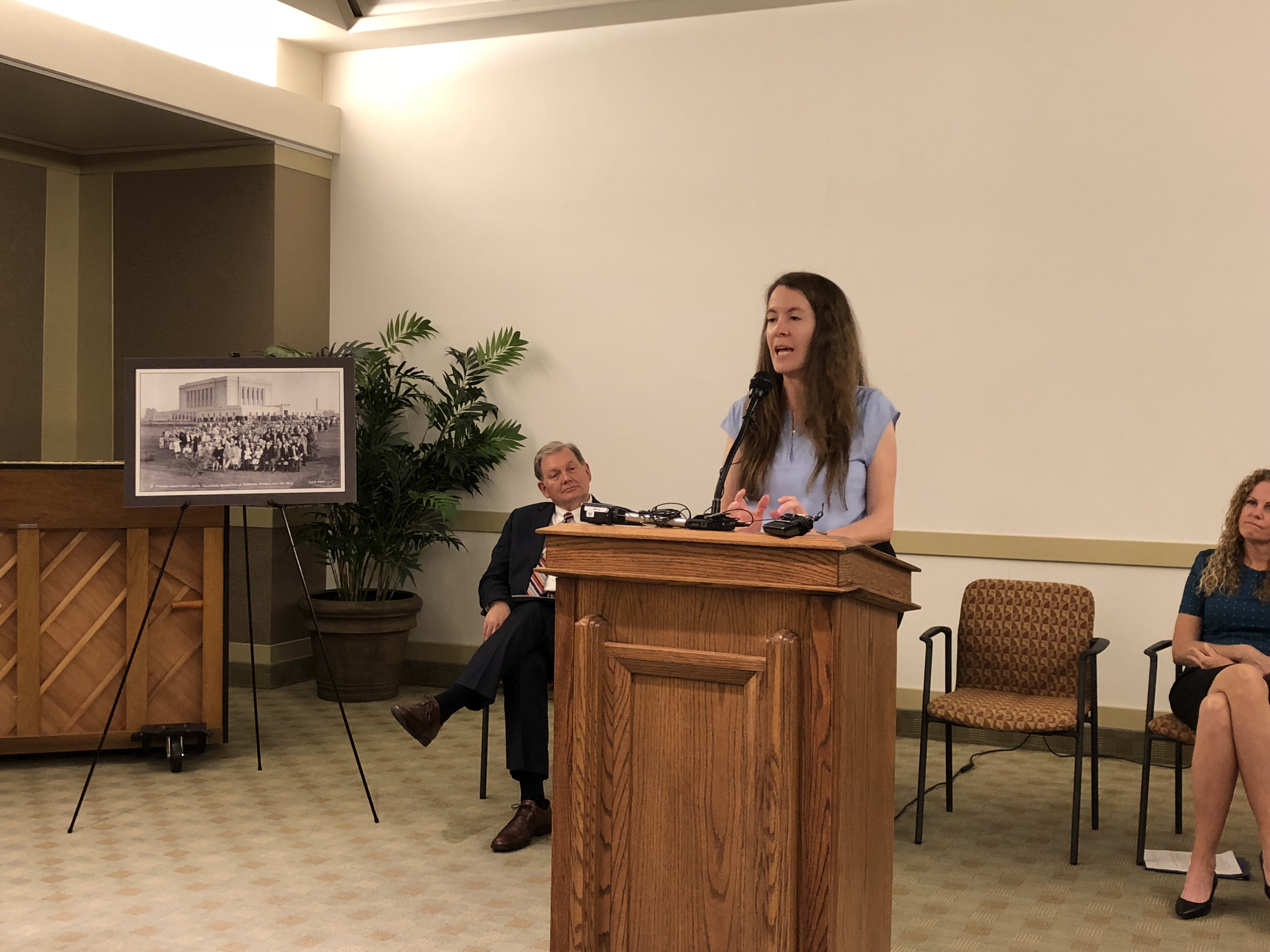 Emily Utt, Church historical curator, gave a brief overview of the history of the 75,000-square-foot temple and its renovations over the years at a press conference May 10.