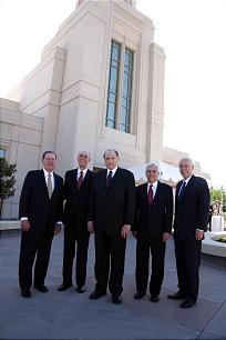 From left, Elder Jeffrey R. Holland, President Henry B. Eyring, President Thomas S. Monson, Elder Claudio R.M. Costa and Elder William R. Walker.