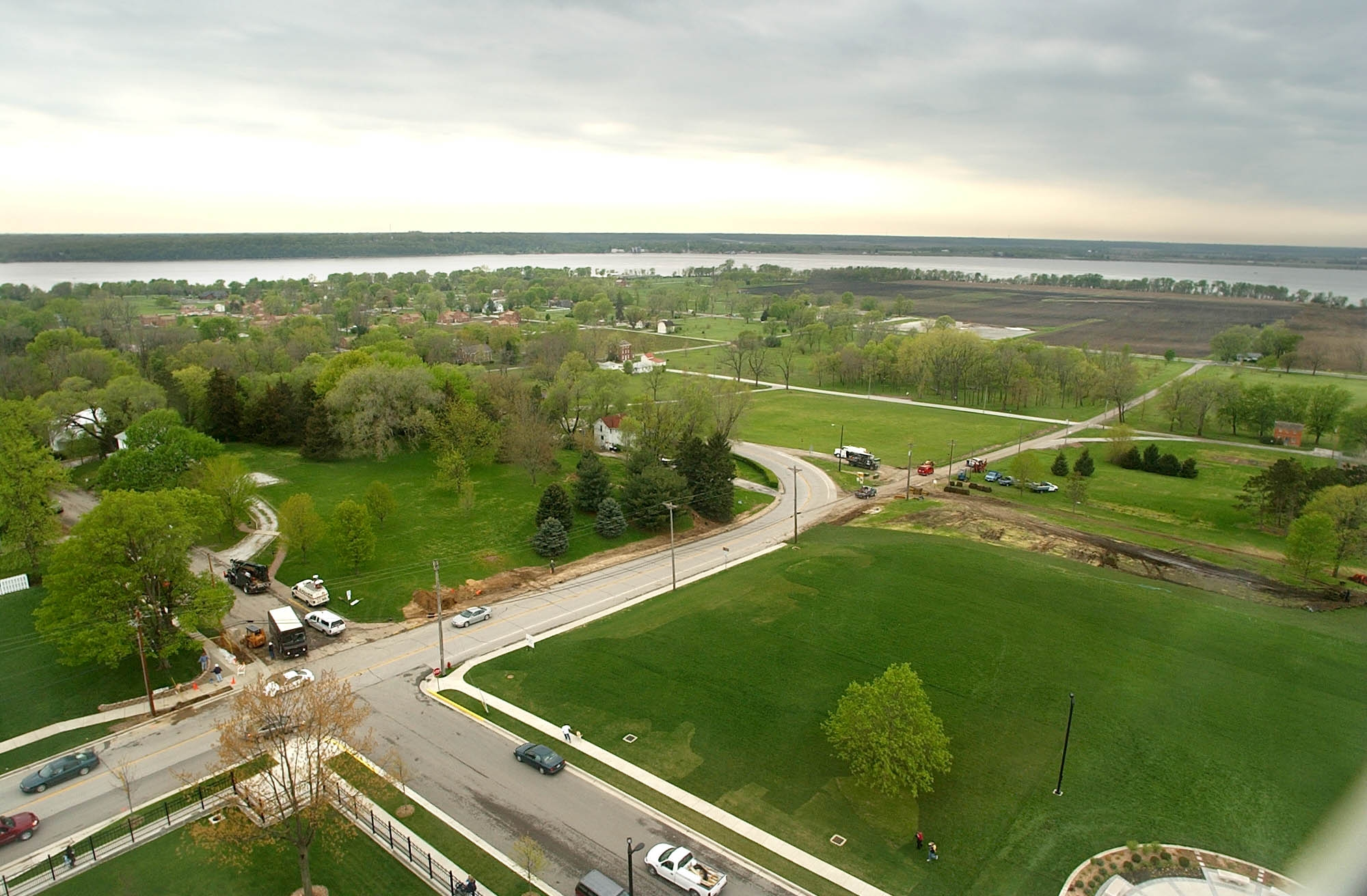Looking out of the Nauvoo Temple bell tower down toward historic Nauvoo, the Mississippi River and Montrose, Iowa, on April 30, 2002.