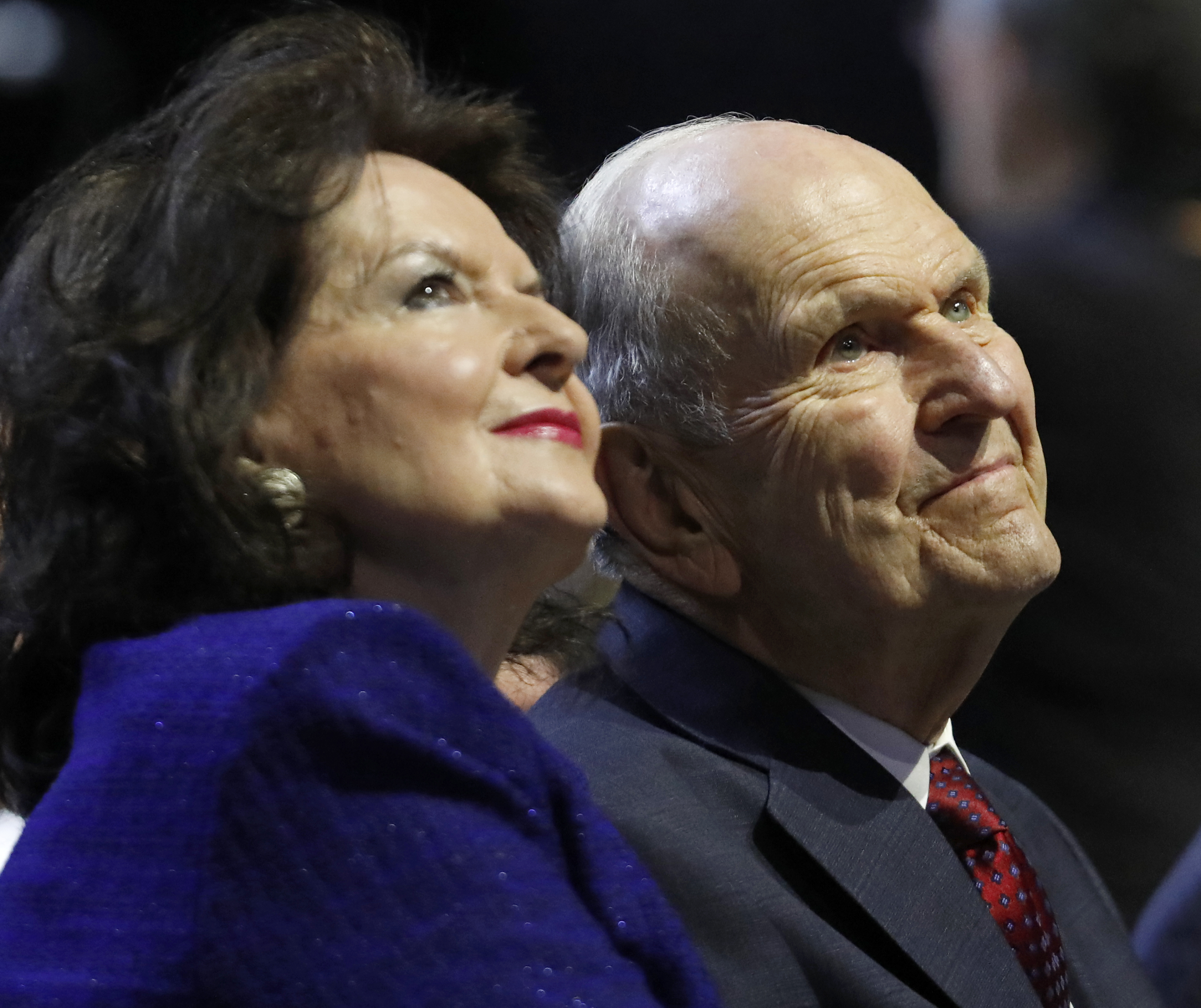 President Russell M. Nelson of The Church of Jesus Christ of Latter-day Saints (right) with his wife, Sister Wendy Nelson, listen to speakers during the Special Devotional held Sunday, Nov. 18, 2018, at the Alamodome in San Antonio, Texas.