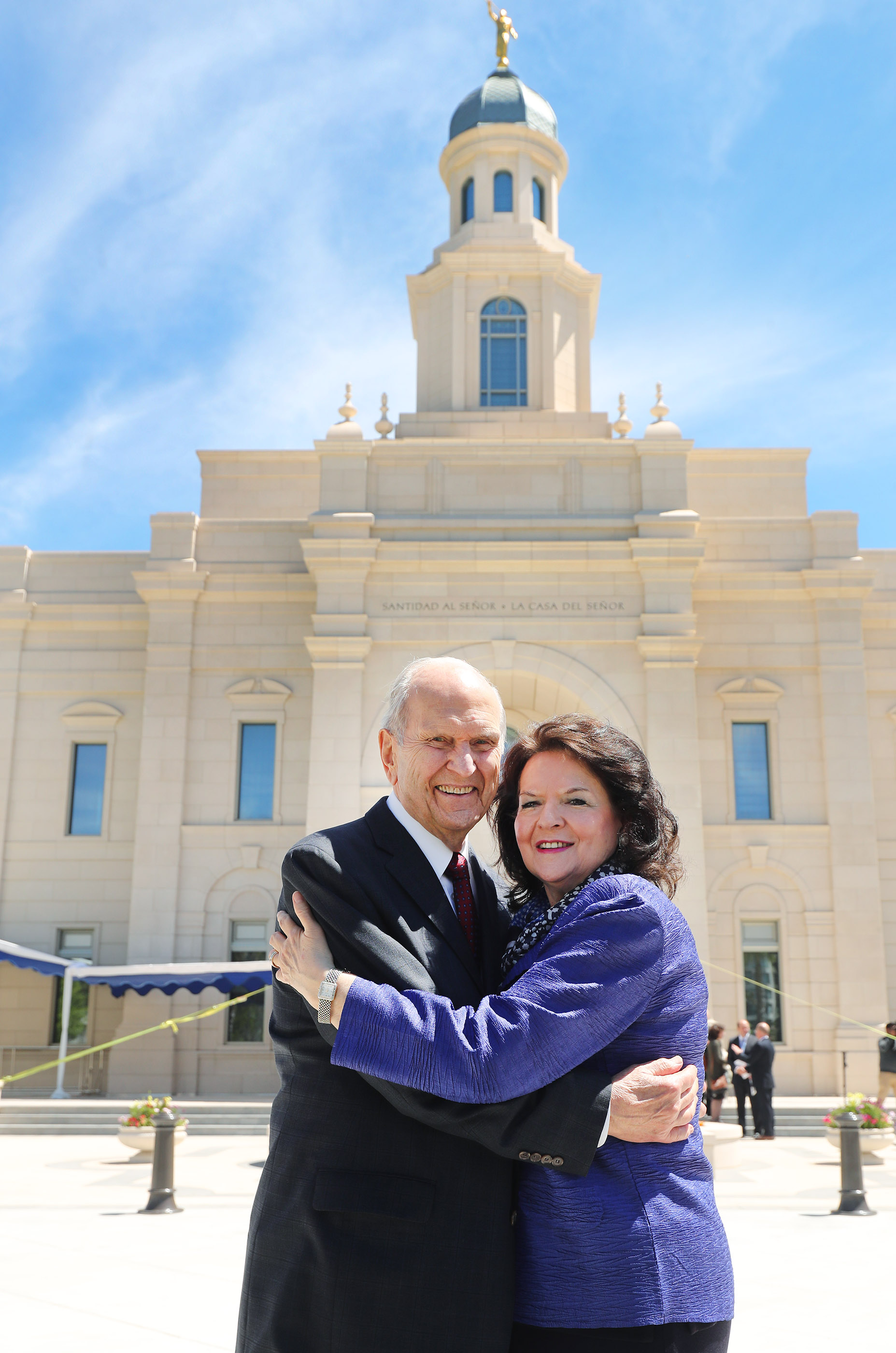 President Russell M. Nelson of The Church of Jesus Christ of Latter-day Saints and his wife Sister Wendy Nelson hug near the temple in Concepcion, Chili on Saturday, Oct. 27, 2018.
