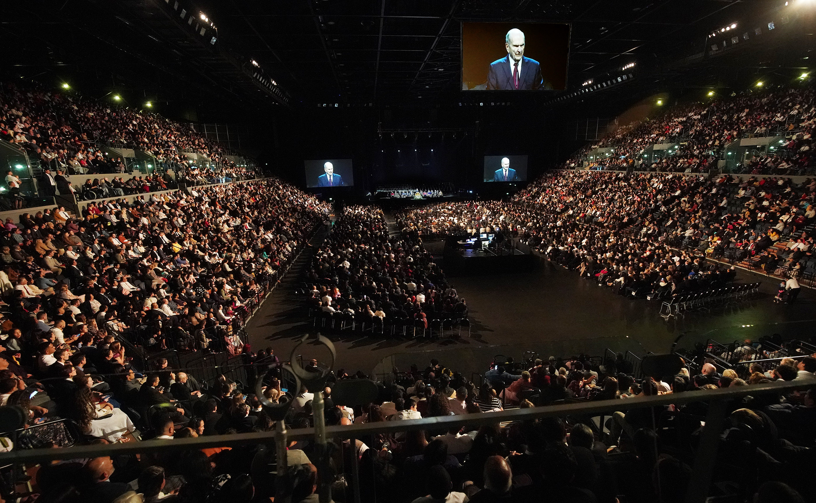 President Russell M. Nelson of The Church of Jesus Christ of Latter-day Saints speaks during a devotional at Spark Arena in Auckland, New Zealand, on May 21, 2019.