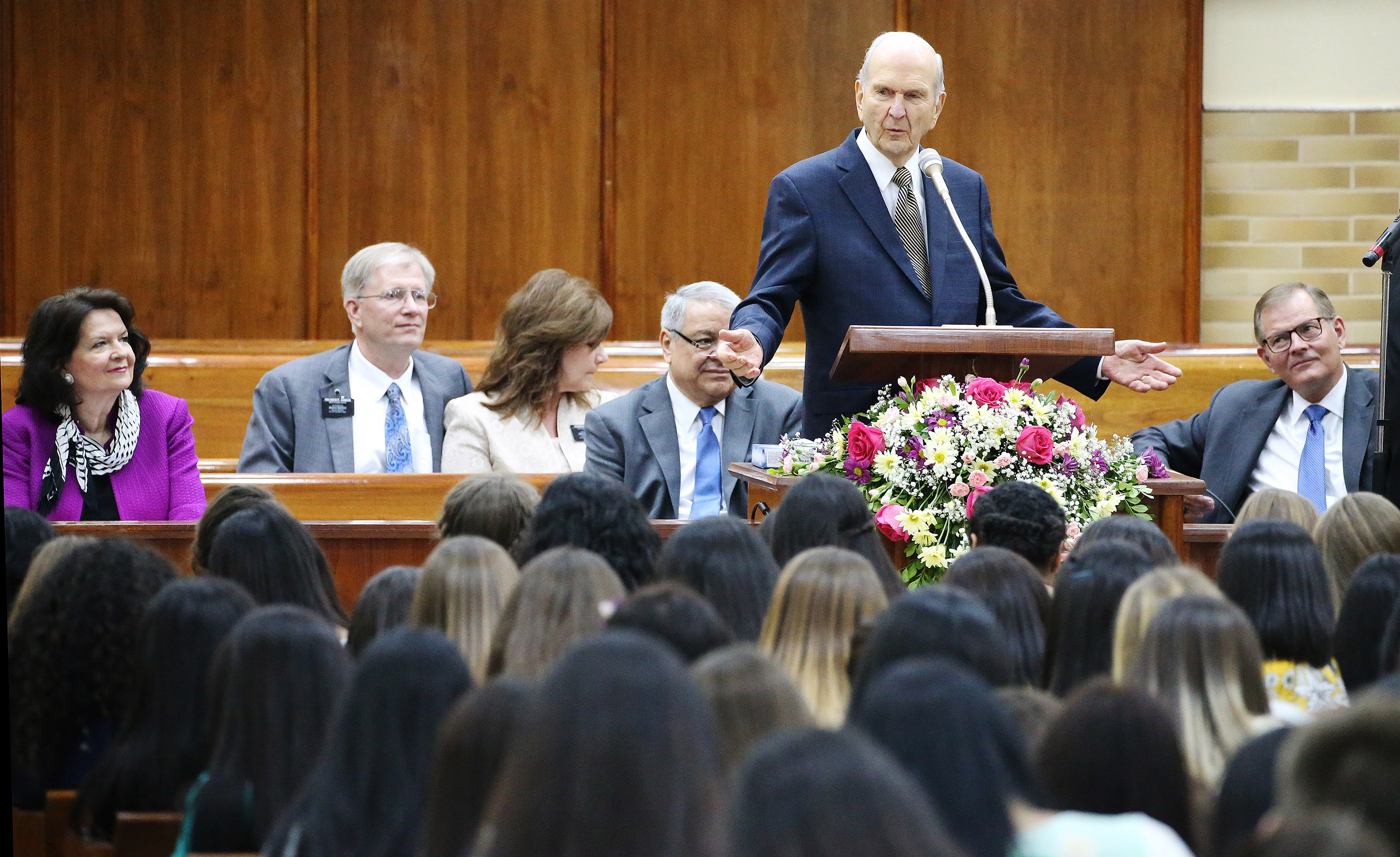 President Russell M. Nelson of The Church of Jesus Christ of Latter-day Saints speaks to missionaries in Asuncion, Paraguay, on Monday, Oct. 22, 2018.