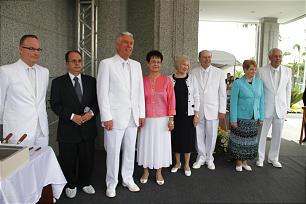 President Dieter F. Uchtdorf conducts the cornerstone ceremony of the Manaus Brazil Temple Sunday, June 10, 2012. Also participating are President Uchtdorf's wife, Harriet, and Elder Quentin L. Cook and his wife, Mary.