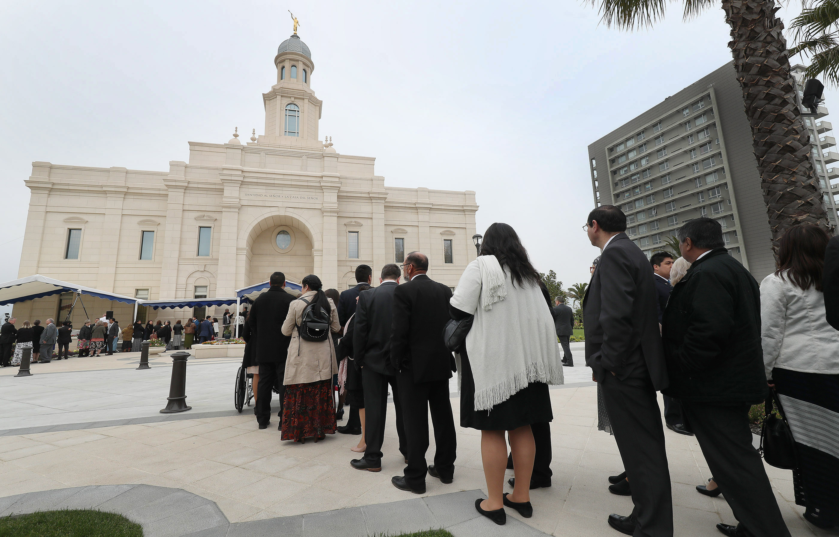 Attendees line up prior to one of the day's three dedication services of The Church of Jesus Christ of Latter-day Saints' Concepcion Chile Temple in Concepcion, Chile, on Sunday, Oct. 28, 2018.