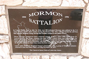 Mormon Battalion monument, designed and built by Karl Fenn, stands in front of St. David Arizona Stake Center.