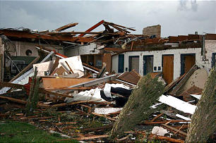 Remains of a stake center in Joplin, Mo., after a massive tornado ripped through the small Missouri town Sunday, killing more than 100 people.