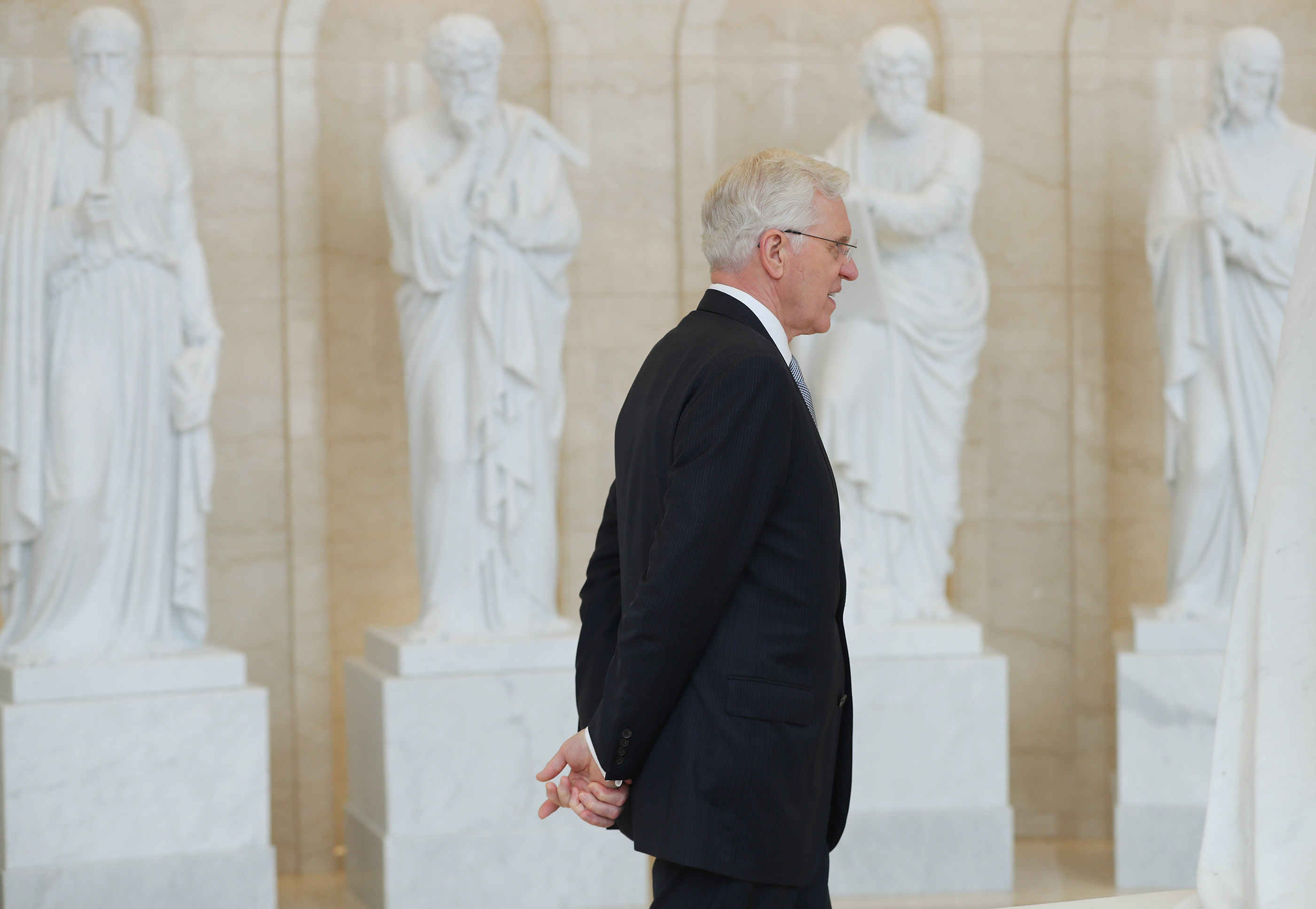 Elder D. Todd Christofferson, of the Quorum of the Twelve Apostles of The Church of Jesus Christ of Latter-day Saints, walks through the Rome Italy Temple visitors' center in Rome, Italy on Monday, March 11, 2019.