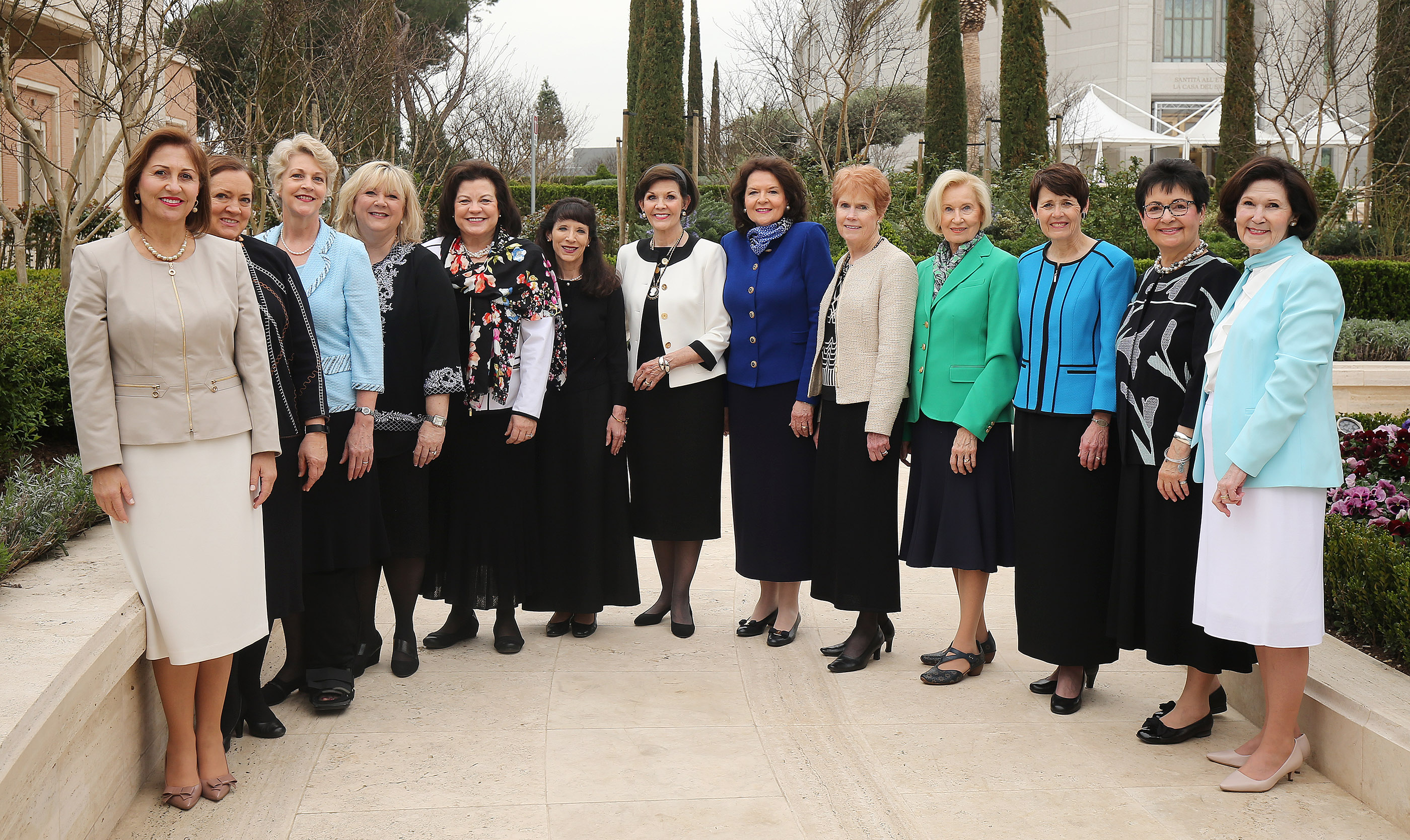 Wives of the members of the First Presidency and the Quorum of the Twelve Apostles of The Church of Jesus Christ of Latter-day Saints, pose for a photograph near the Rome Italy Temple Visitors' Center in Rome, Italy, on Monday, March 11, 2019.